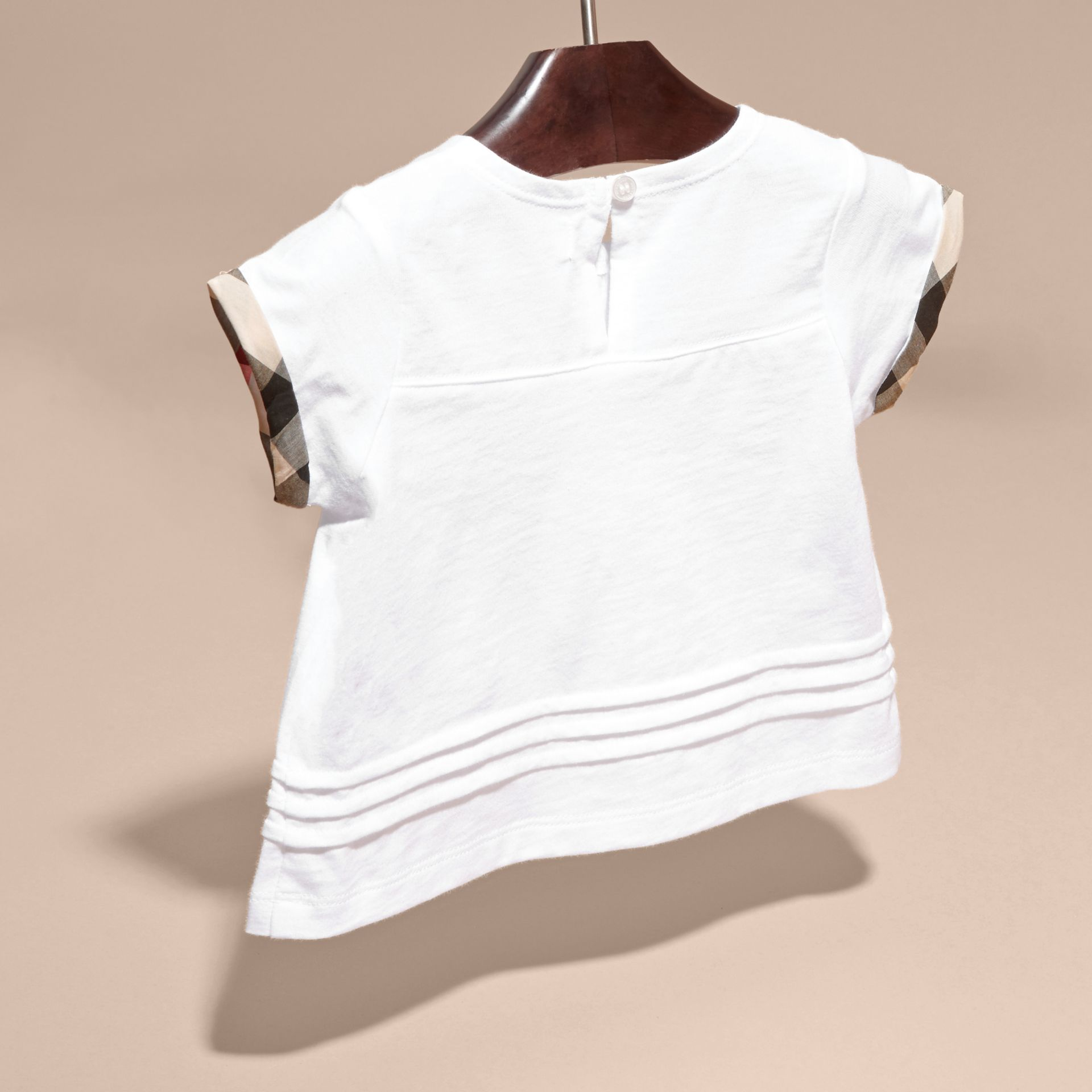 Pleat and Check Detail Cotton T-shirt in White | Burberry - gallery image 3