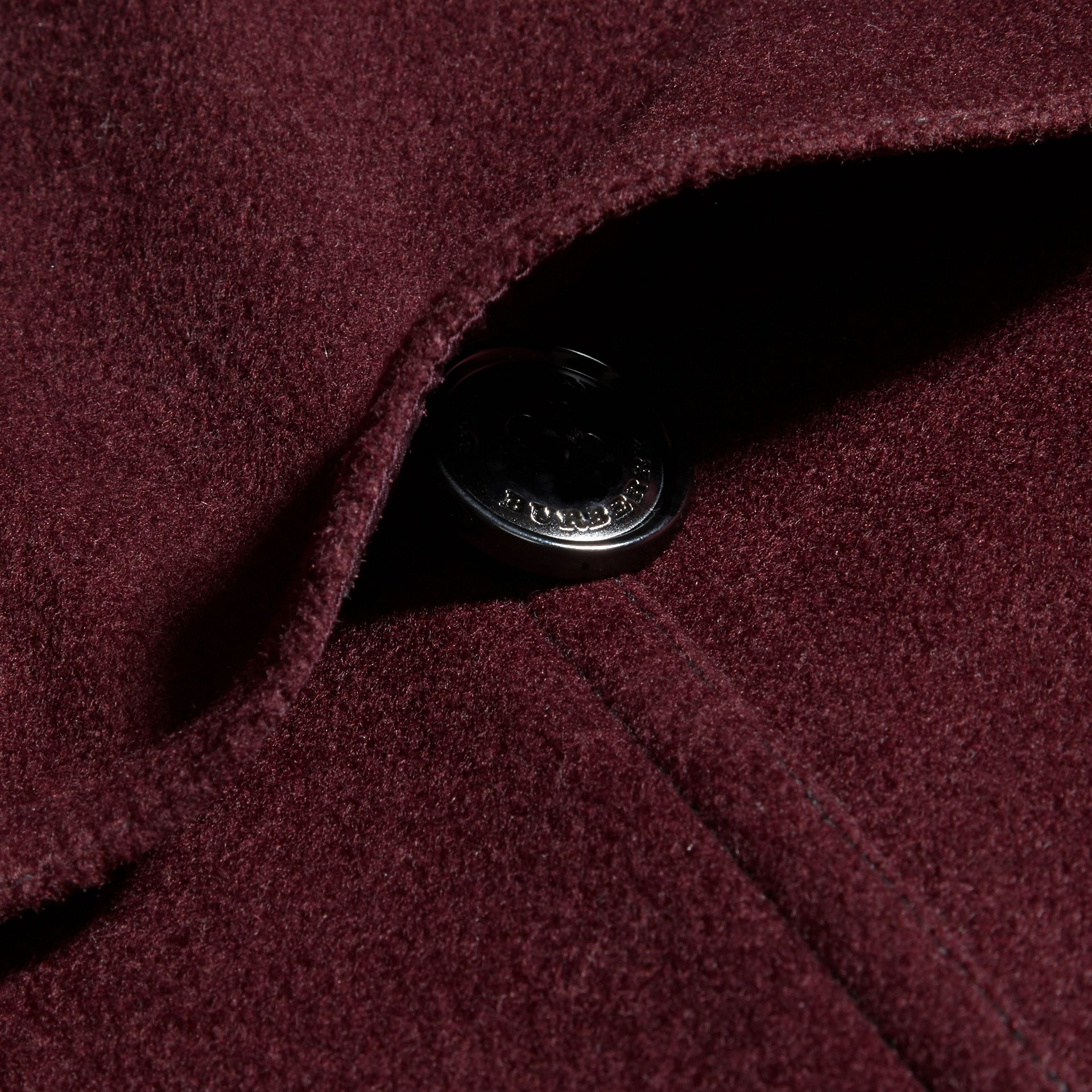 Deep claret Double-breasted Wool Cashmere Fur Collar Coat - gallery image 2