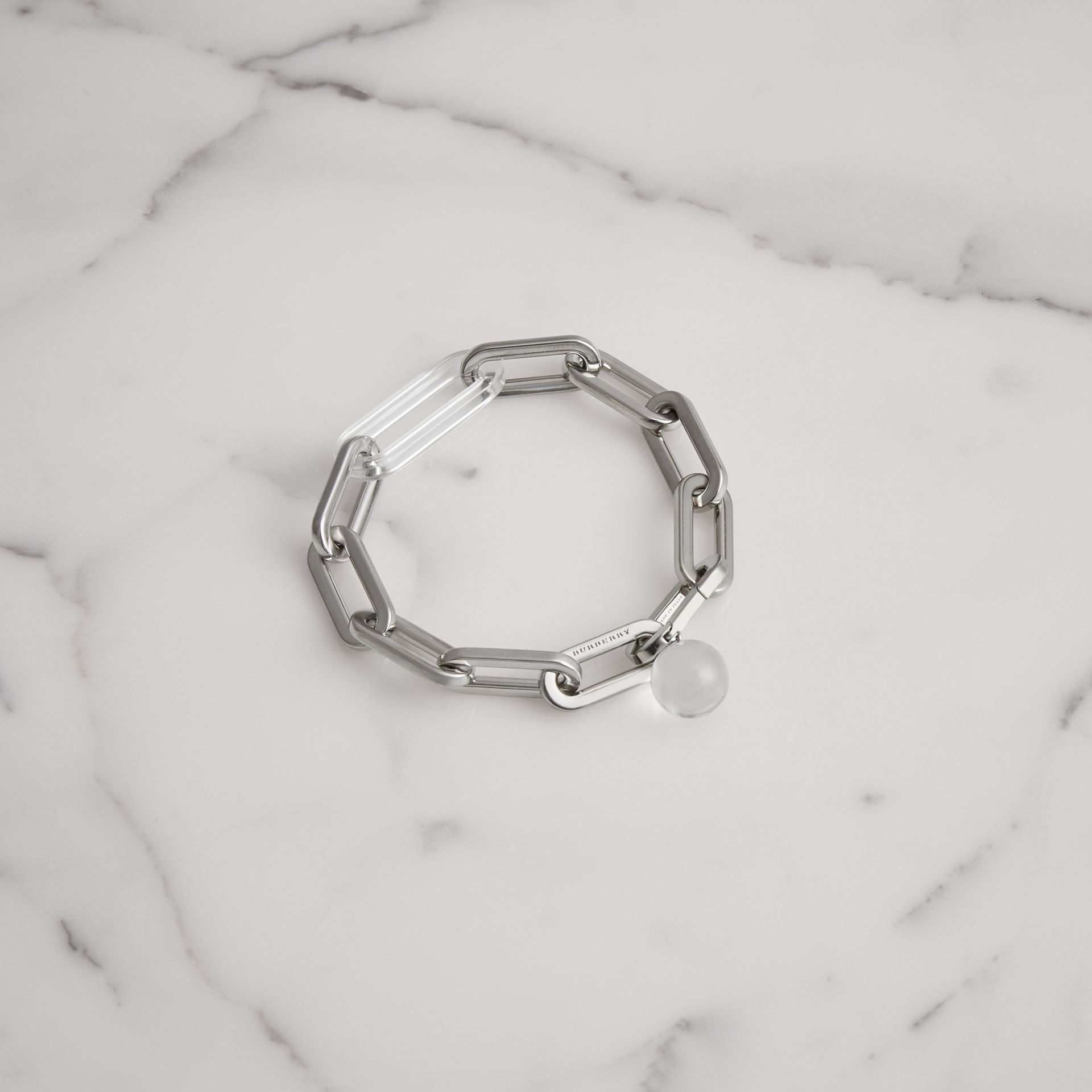 Glass Charm Palladium-plated Link Bracelet in Palladio - Women | Burberry Singapore - gallery image 0