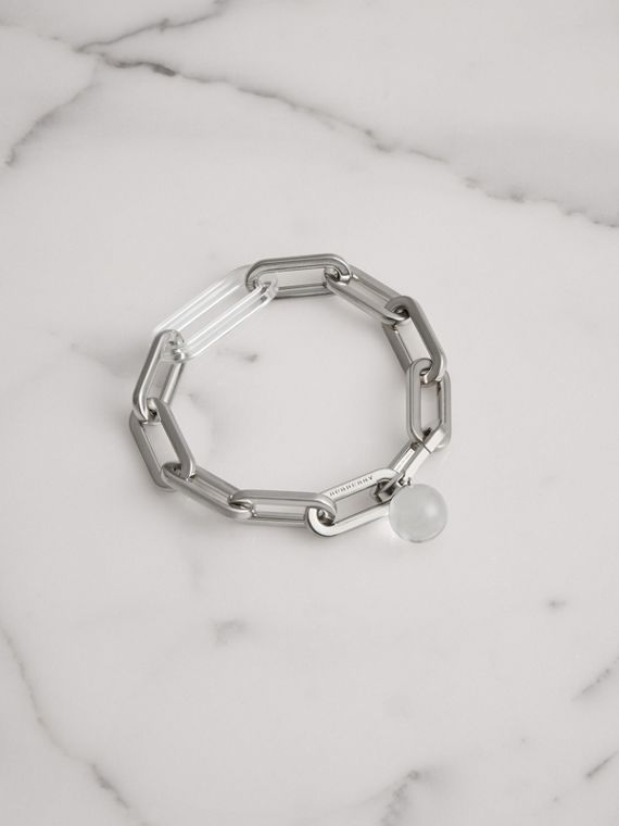 Glass Charm Palladium-plated Link Bracelet in Palladio