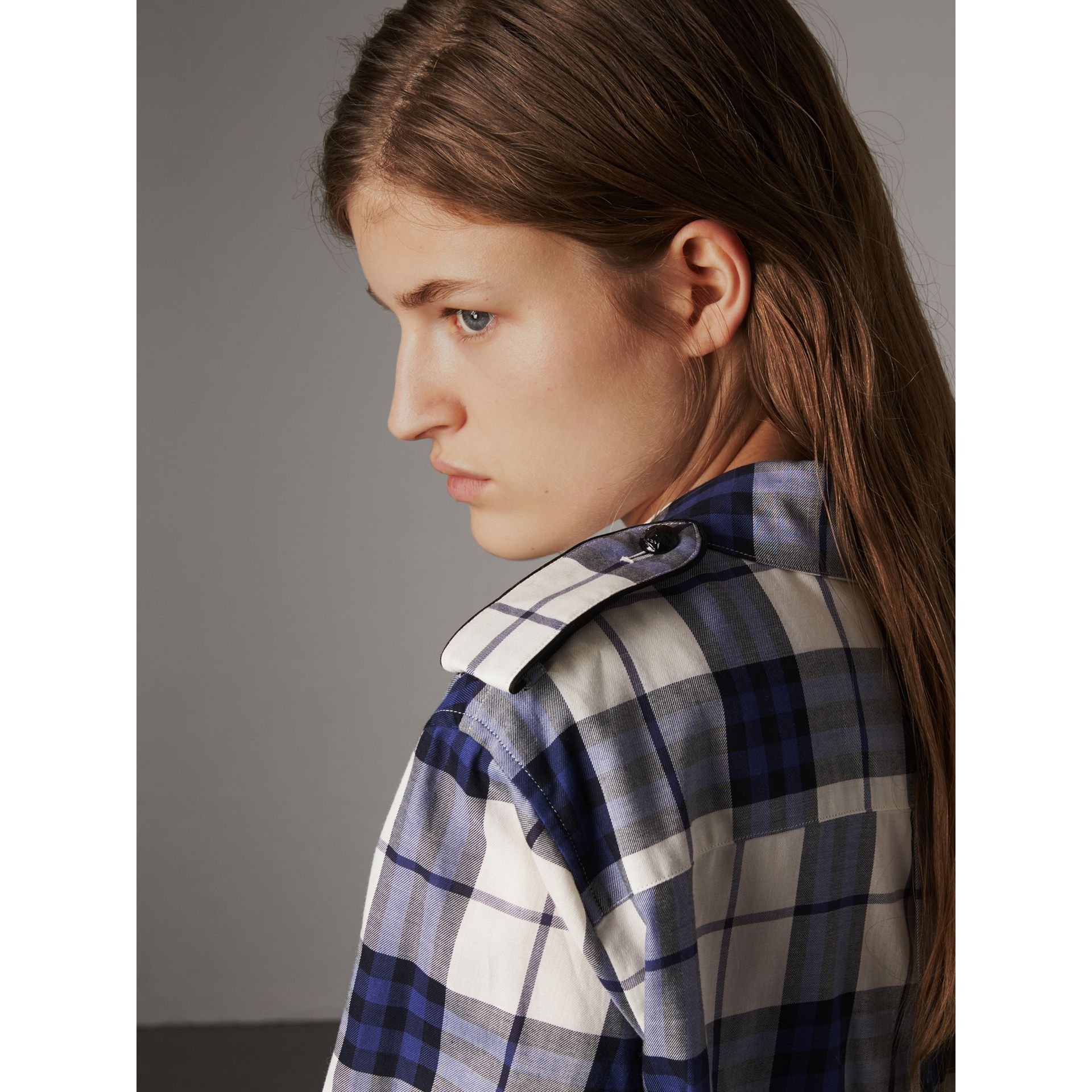 Check Cotton Flannel Military Shirt in Bright Navy - Women | Burberry Canada - gallery image 4