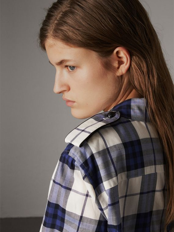 Check Cotton Flannel Military Shirt in Bright Navy - Women | Burberry Canada - cell image 3