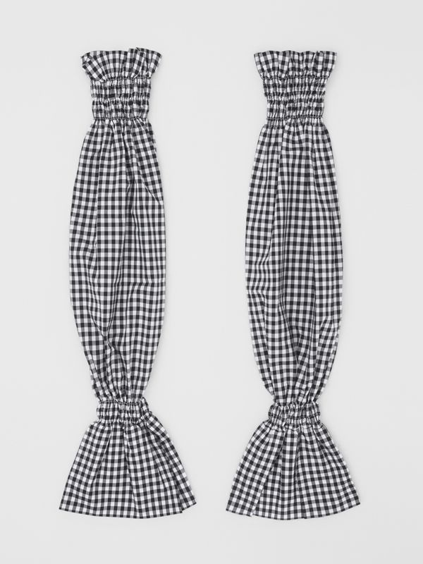 Gingham Cotton Puff Sleeves in Black - Women | Burberry - cell image 3