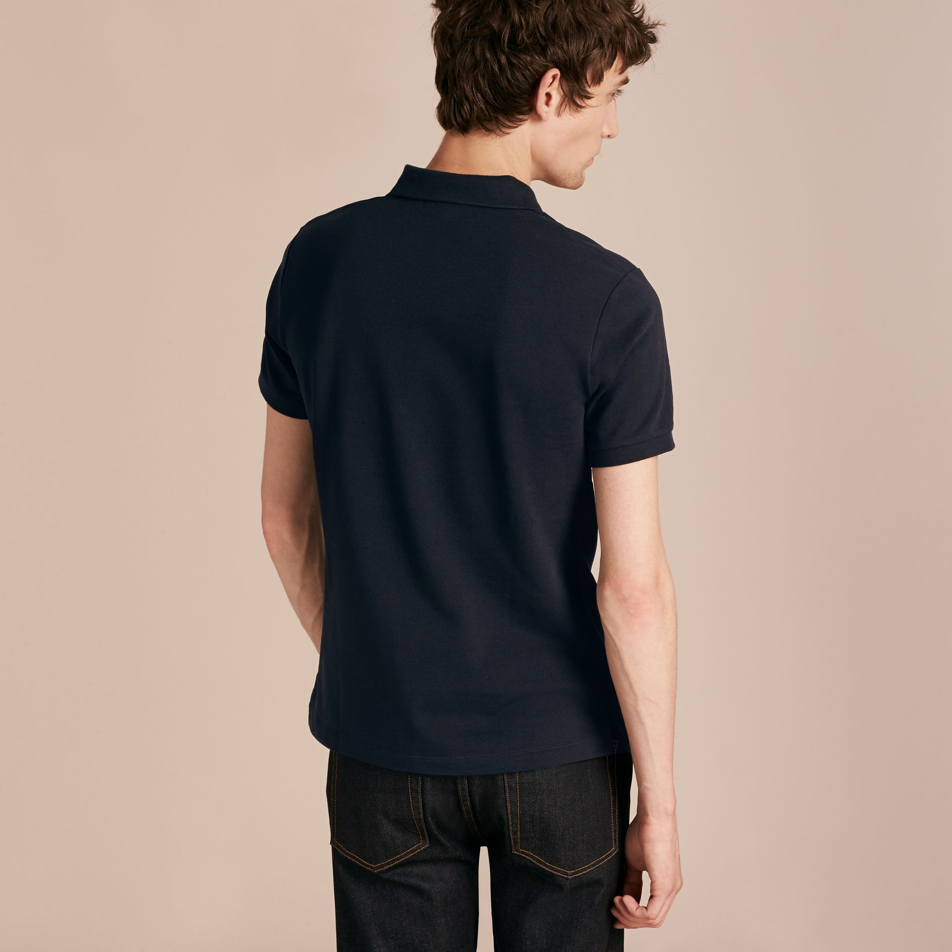Check Placket Cotton Piqué Polo Shirt in Dark Navy - gallery image 3