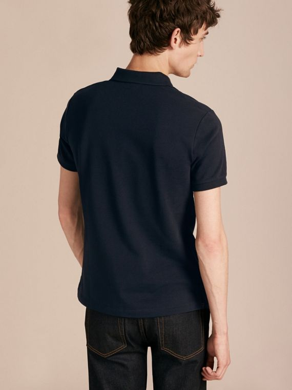 Check Placket Cotton Piqué Polo Shirt in Dark Navy - cell image 2