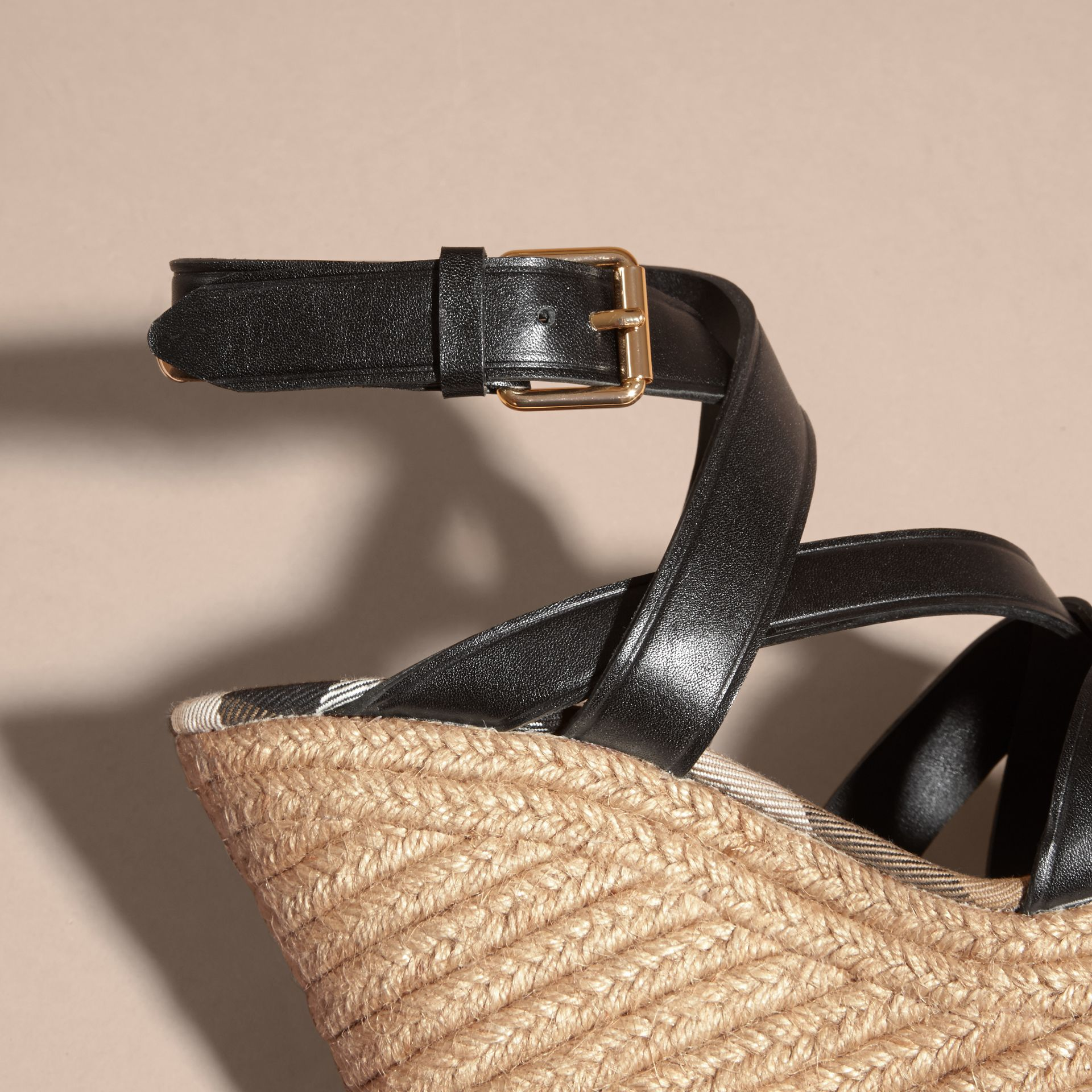 Leather Platform Espadrille Wedge Sandals - Women | Burberry Australia - gallery image 6