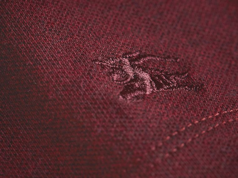 Peter Pan Collar Cotton Piqué Polo Shirt in Burgundy Melange - Girl | Burberry - cell image 1