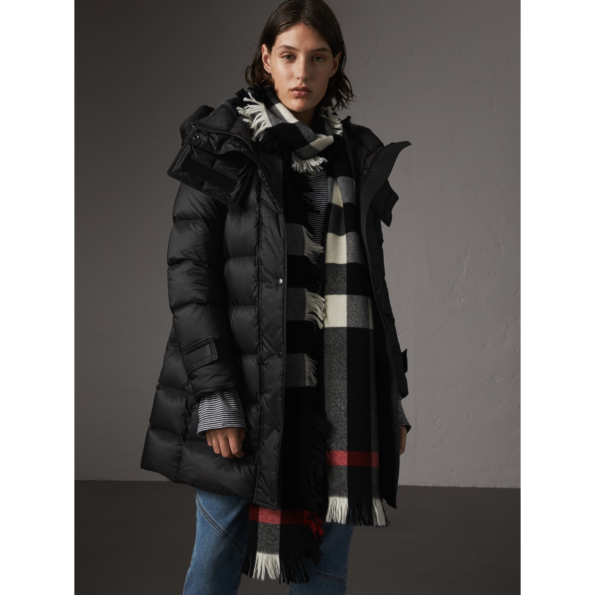 Detachable Hooded Down-filled Puffer Coat in Black - Women | Burberry Singapore - gallery image 1