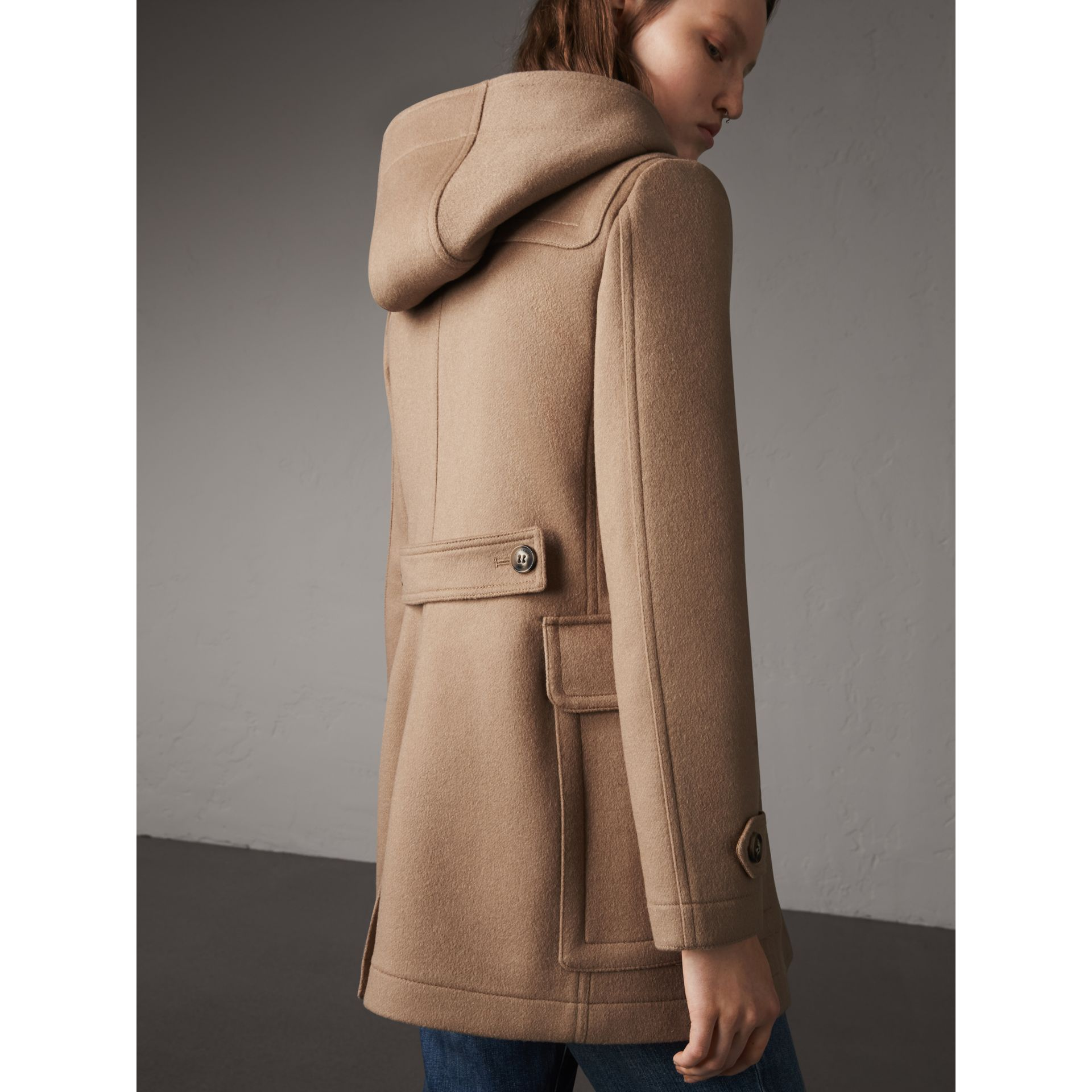 Fitted Wool Duffle Coat in New Camel - Women | Burberry Canada - gallery image 3