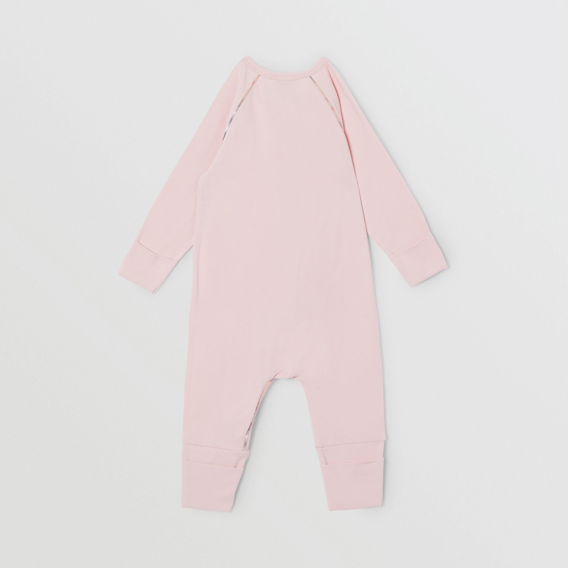 Check Trim Stretch Cotton Three-piece Baby Gift Set in Lavender Pink - Children | Burberry - gallery image 6