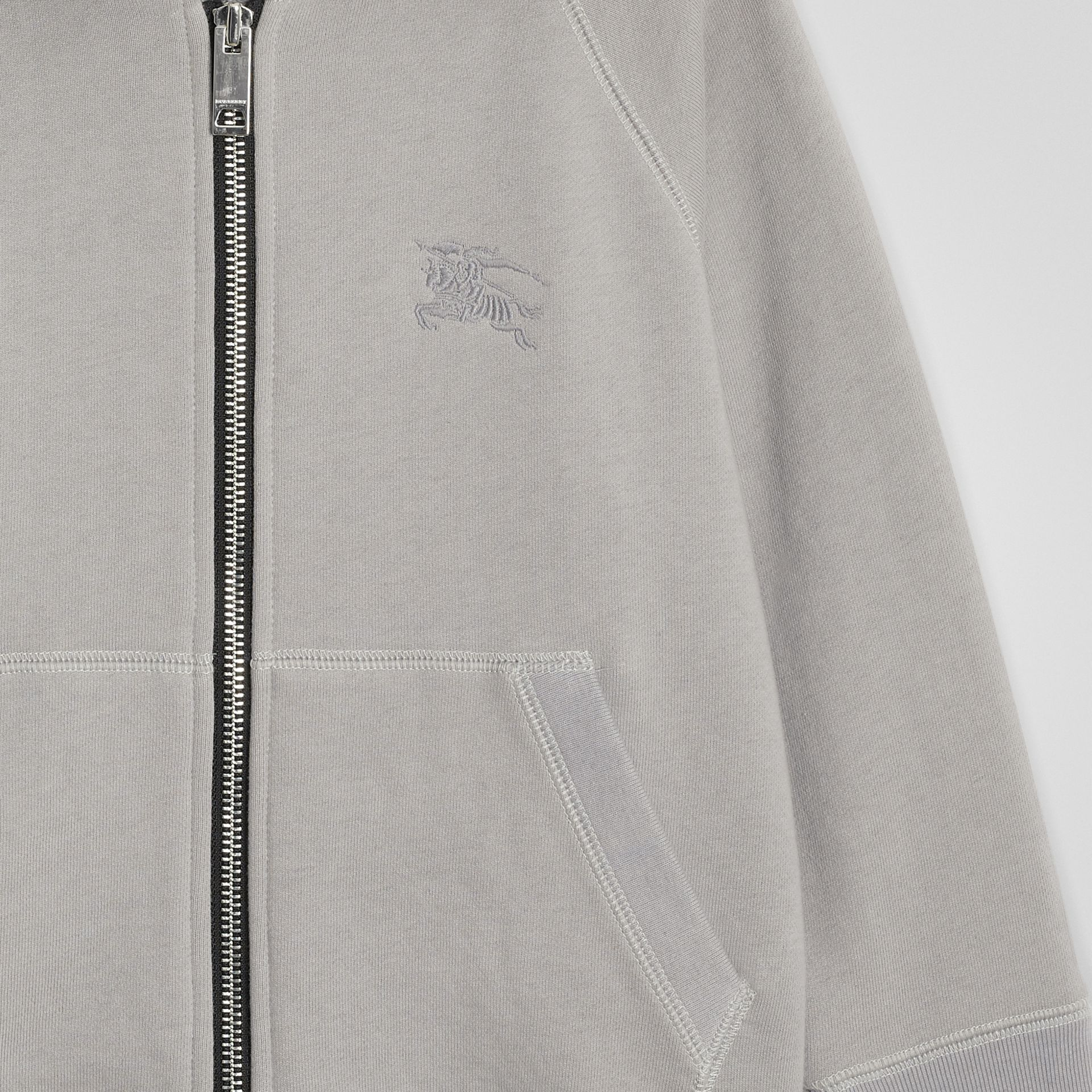 Cotton Jersey Hooded Top in Chalk Grey Melange | Burberry - gallery image 4