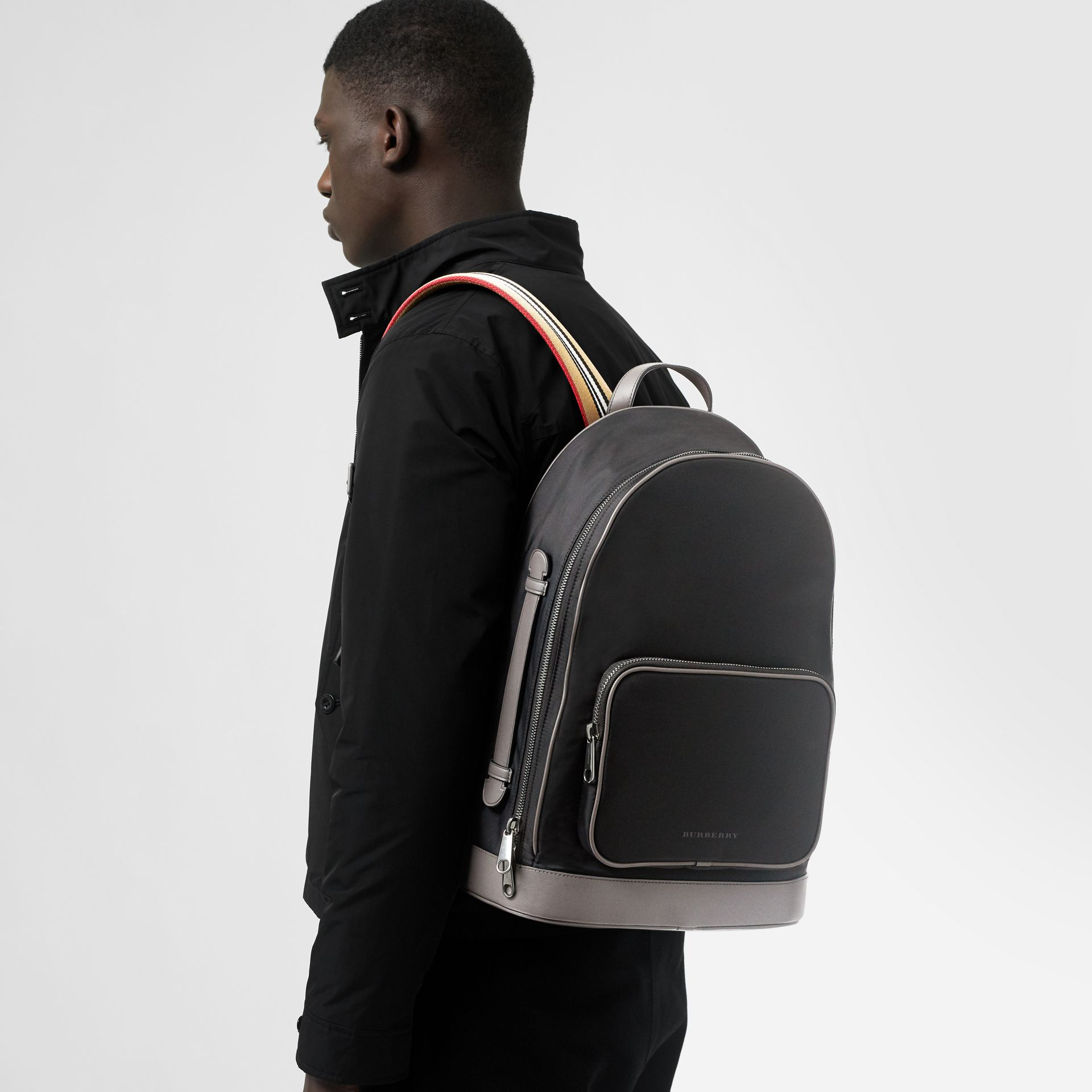 Heritage Stripe Detail Nylon Backpack in Black - Men | Burberry United Kingdom - gallery image 5