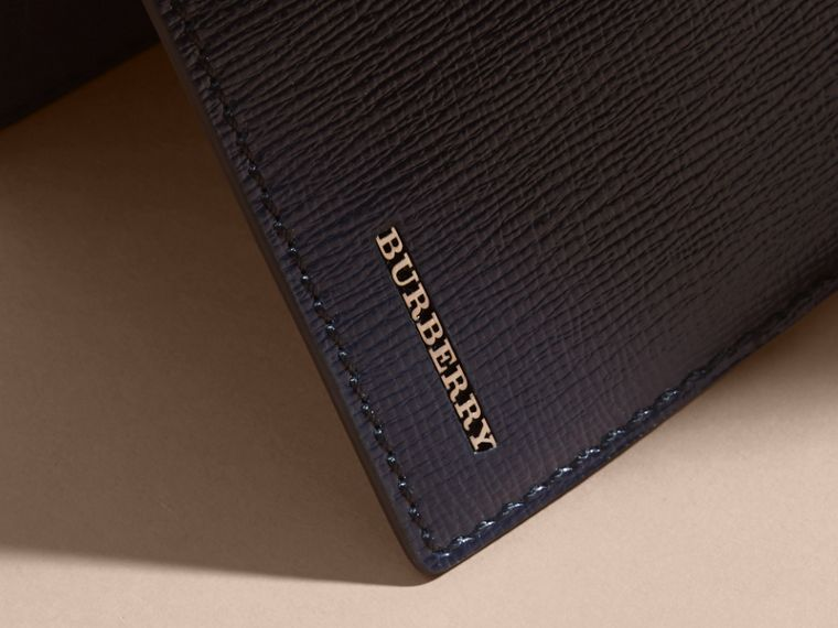 London Leather Bifold Wallet in Dark Navy | Burberry - cell image 1