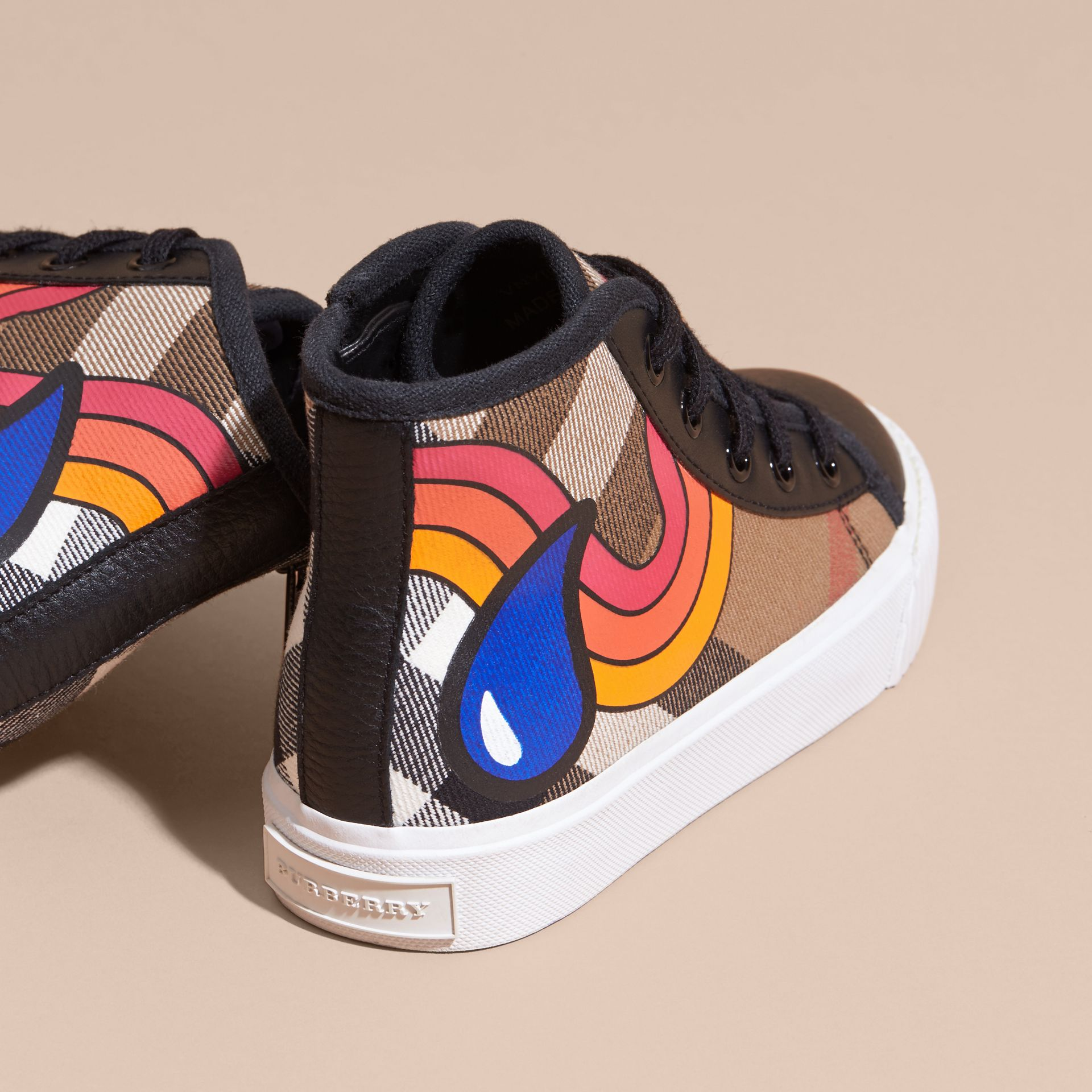 Printed House Check High-top Trainers - gallery image 4