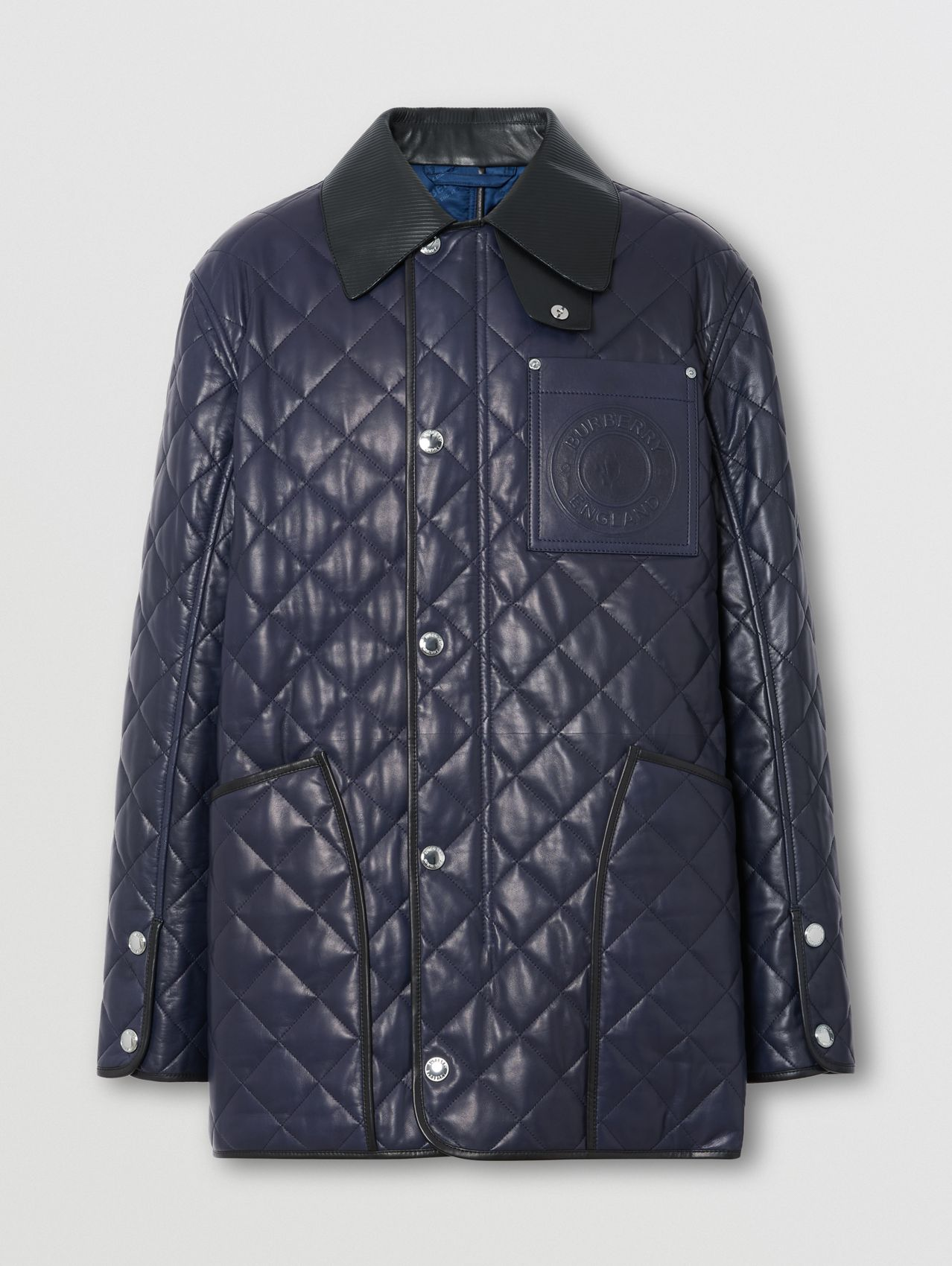 Logo Graphic Diamond Quilted Lambskin Barn Jacket in Ink Blue