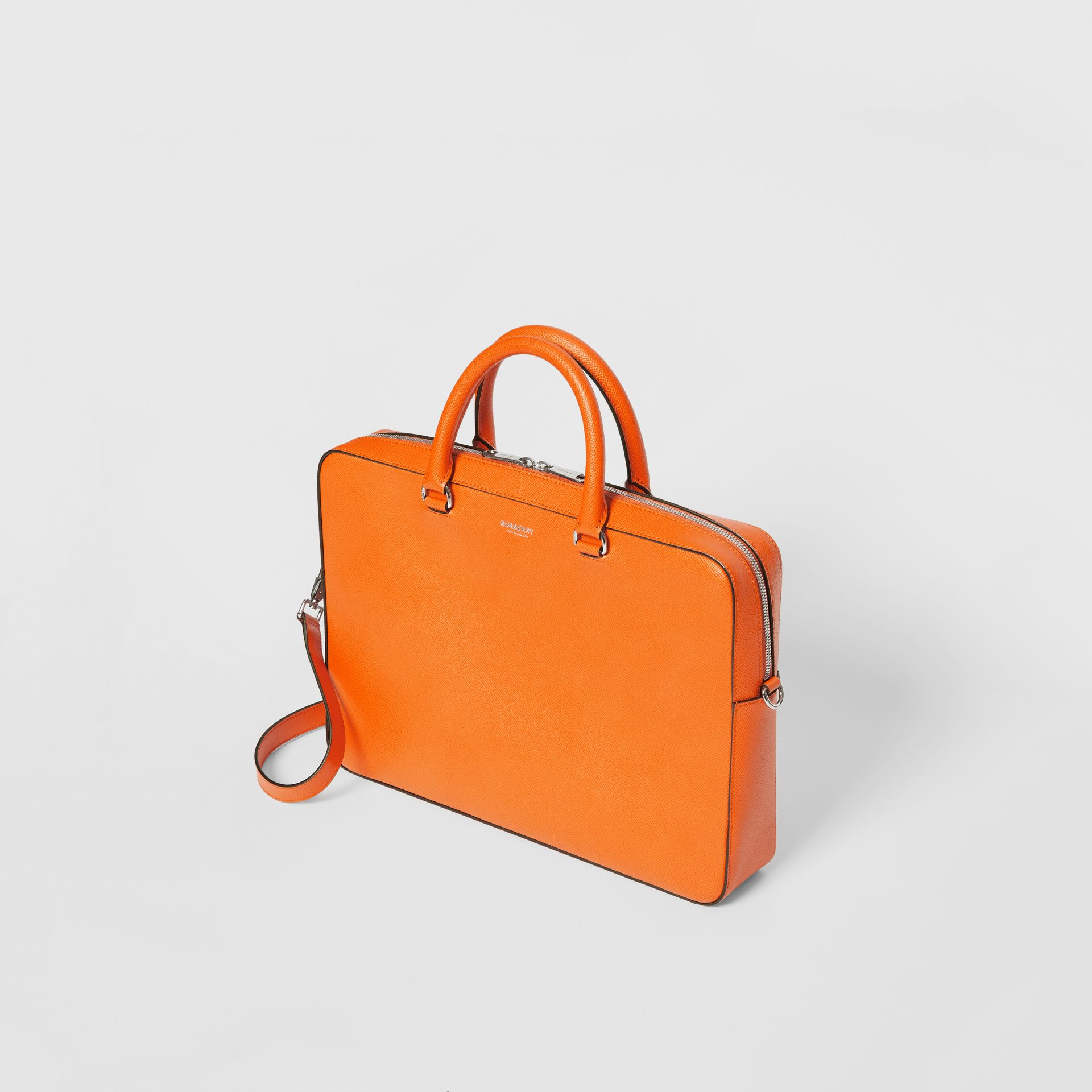 Grainy Leather Briefcase in Bright Orange - Men | Burberry - gallery image 3