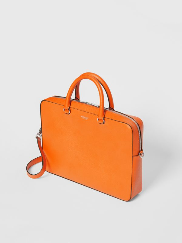 Grainy Leather Briefcase in Bright Orange - Men | Burberry - cell image 3