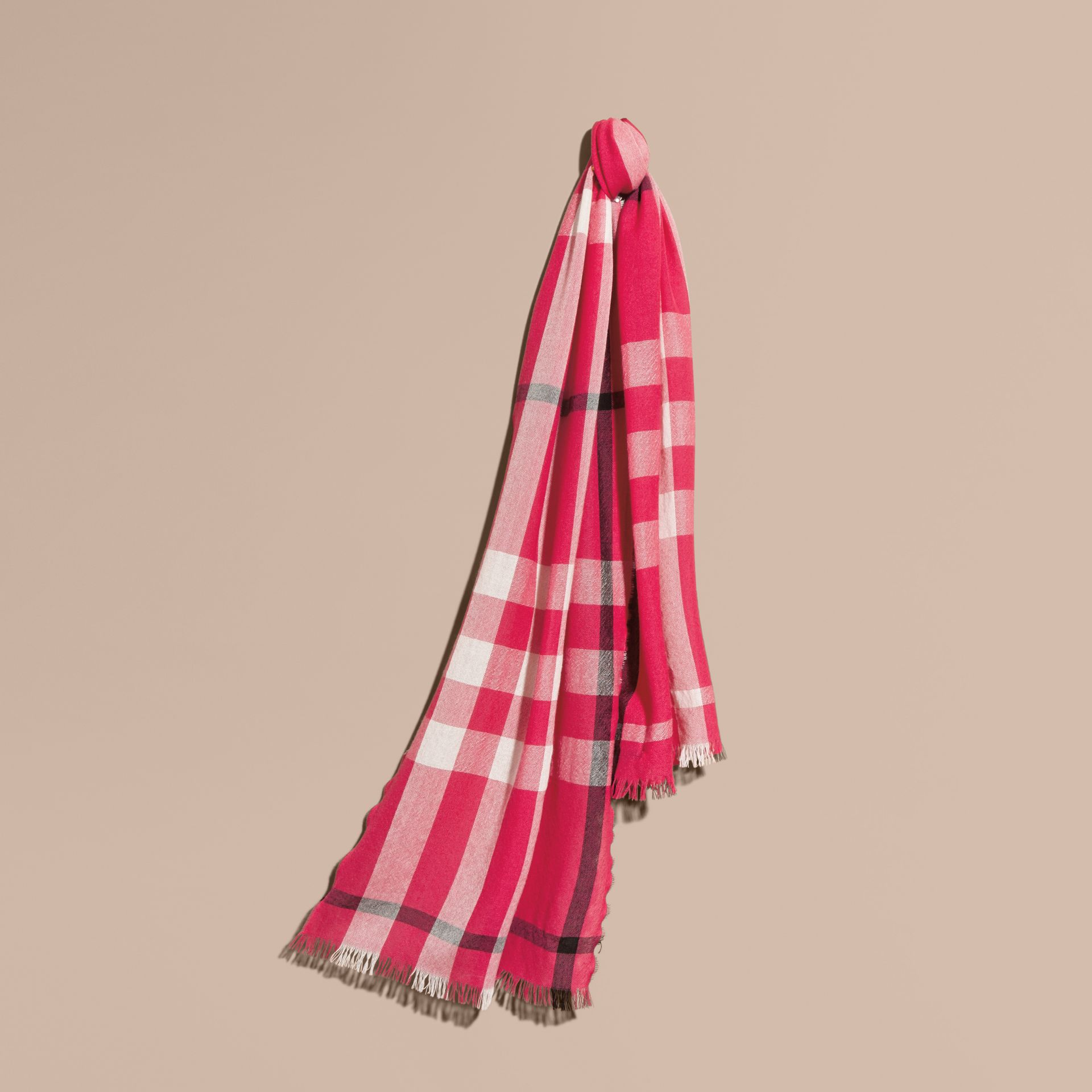 Bright pink Lightweight Check Wool Cashmere Scarf Bright Pink - gallery image 1