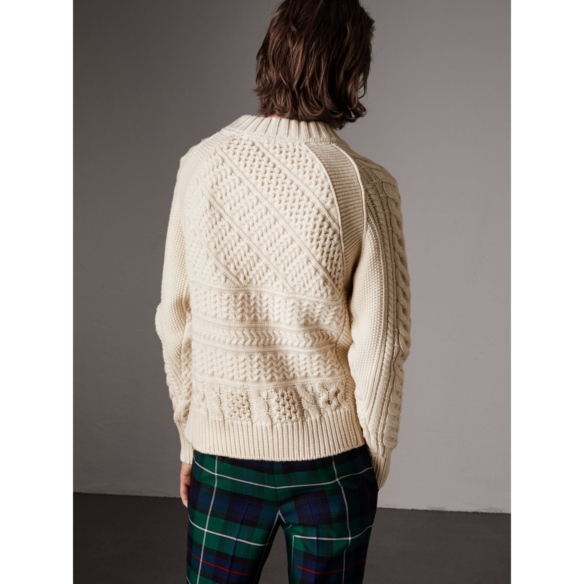 Wool Cashmere Aran Sweater in Natural White - Men | Burberry - gallery image 3