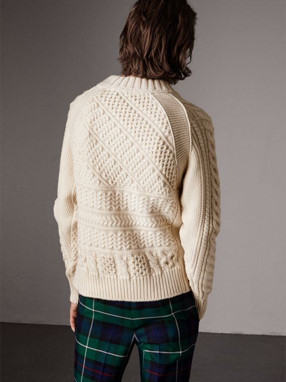 Wool Cashmere Aran Sweater in Natural White - Men | Burberry Singapore - cell image 2