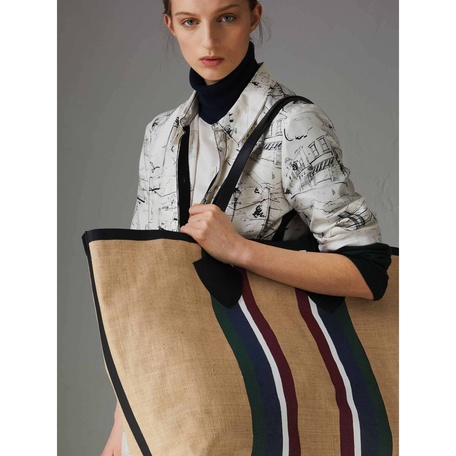 The Giant Tote in Striped Jute in Black - Women | Burberry - gallery image 3