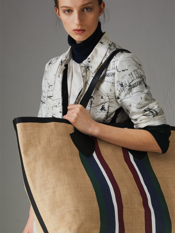 The Giant Tote in Striped Jute in Black - Women | Burberry - cell image 3