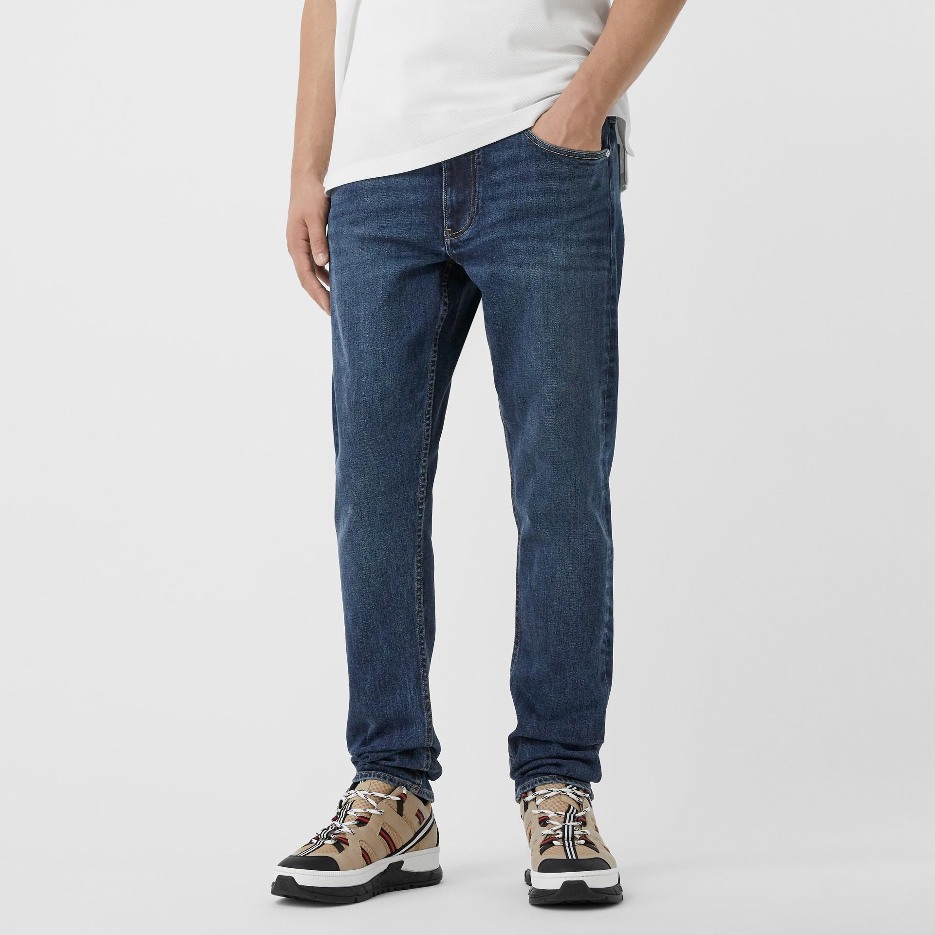 Slim Fit Washed Denim Jeans in Dark Indigo - Men   Burberry - gallery image 2