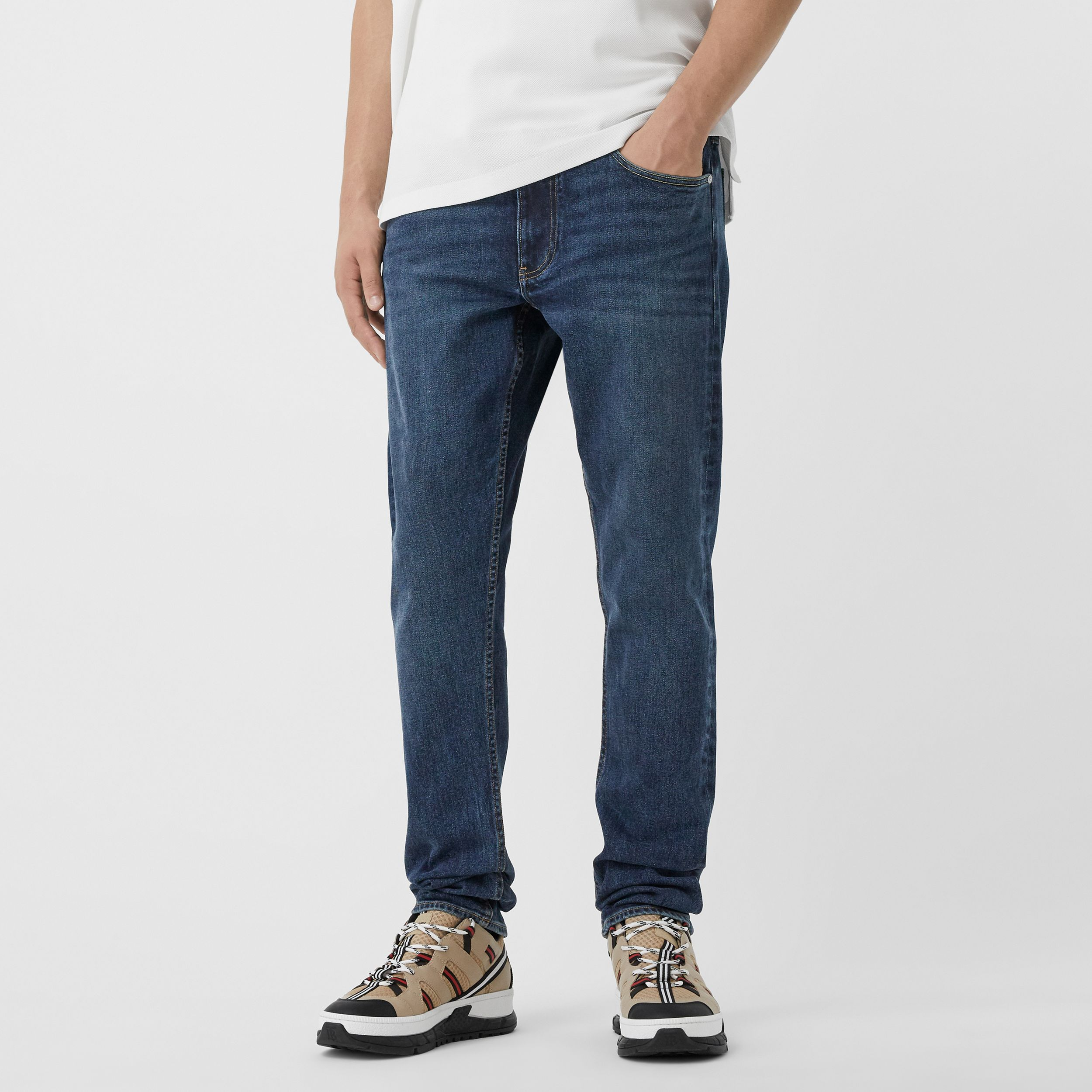 Slim Fit Washed Denim Jeans in Dark Indigo - Men | Burberry - 2