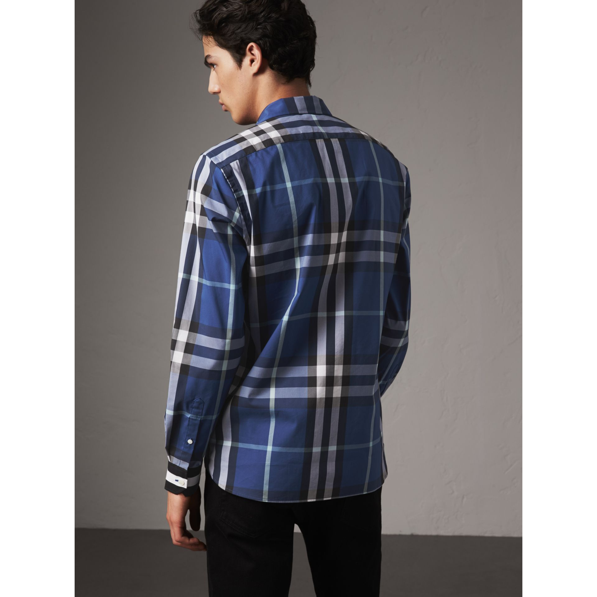 Striped Cuff Check Cotton Blend Shirt in Cobalt Blue - Men | Burberry - gallery image 2