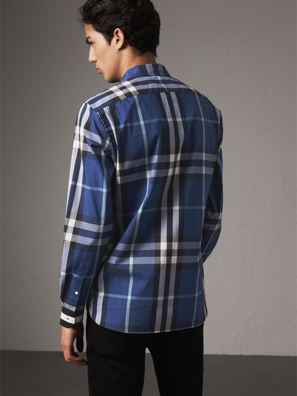 Striped Cuff Check Cotton Blend Shirt in Cobalt Blue - Men | Burberry - cell image 2