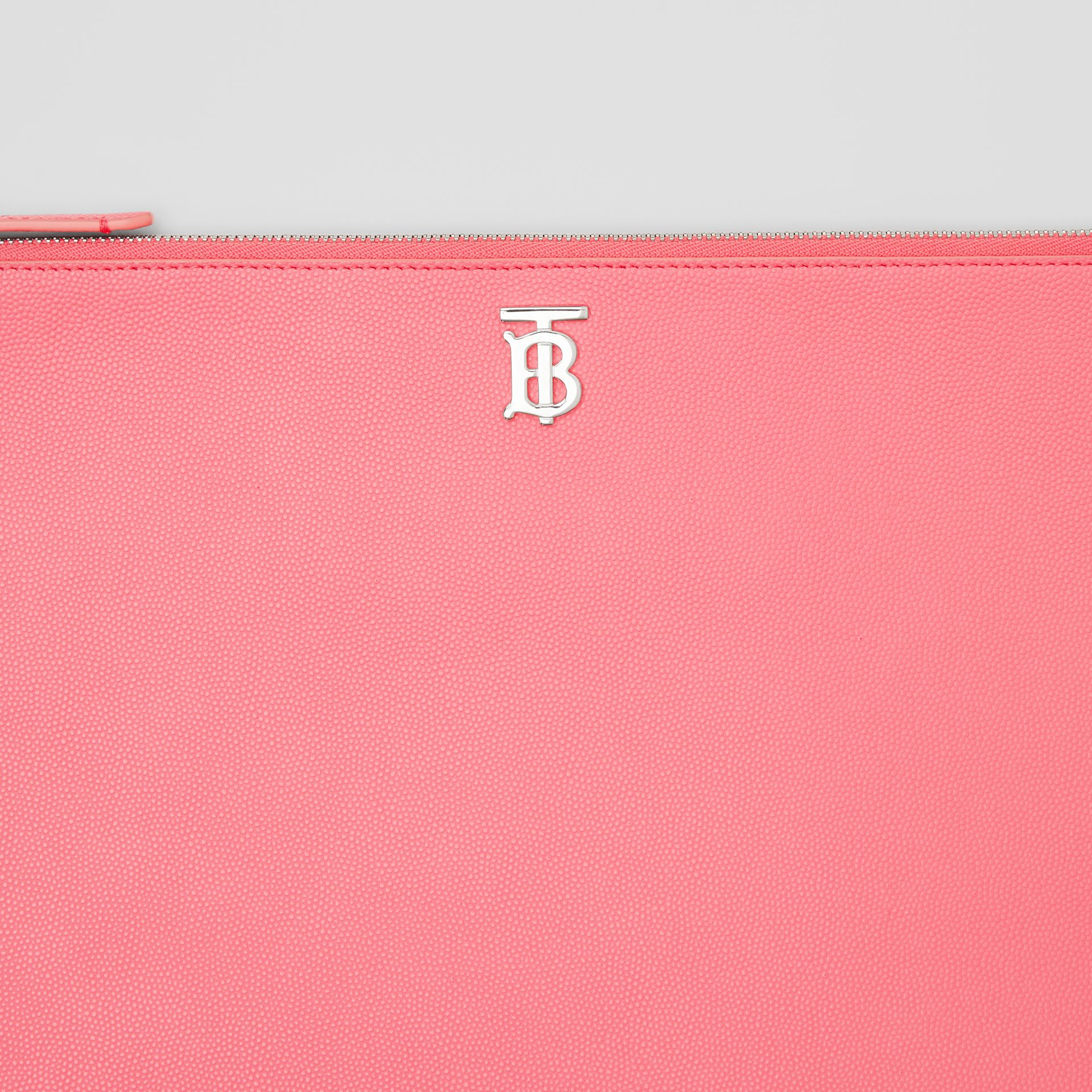 Monogram Motif Grainy Leather Pouch in Candy Floss | Burberry - gallery image 1