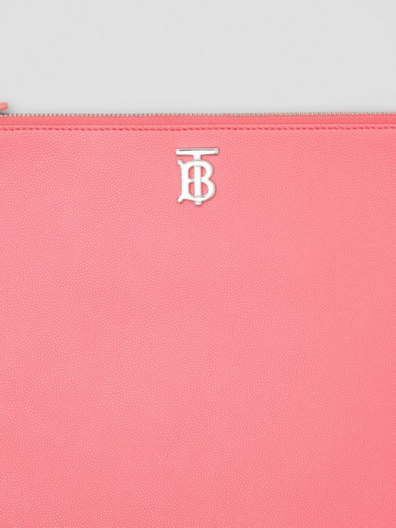 Monogram Motif Grainy Leather Pouch in Candy Floss | Burberry - cell image 1