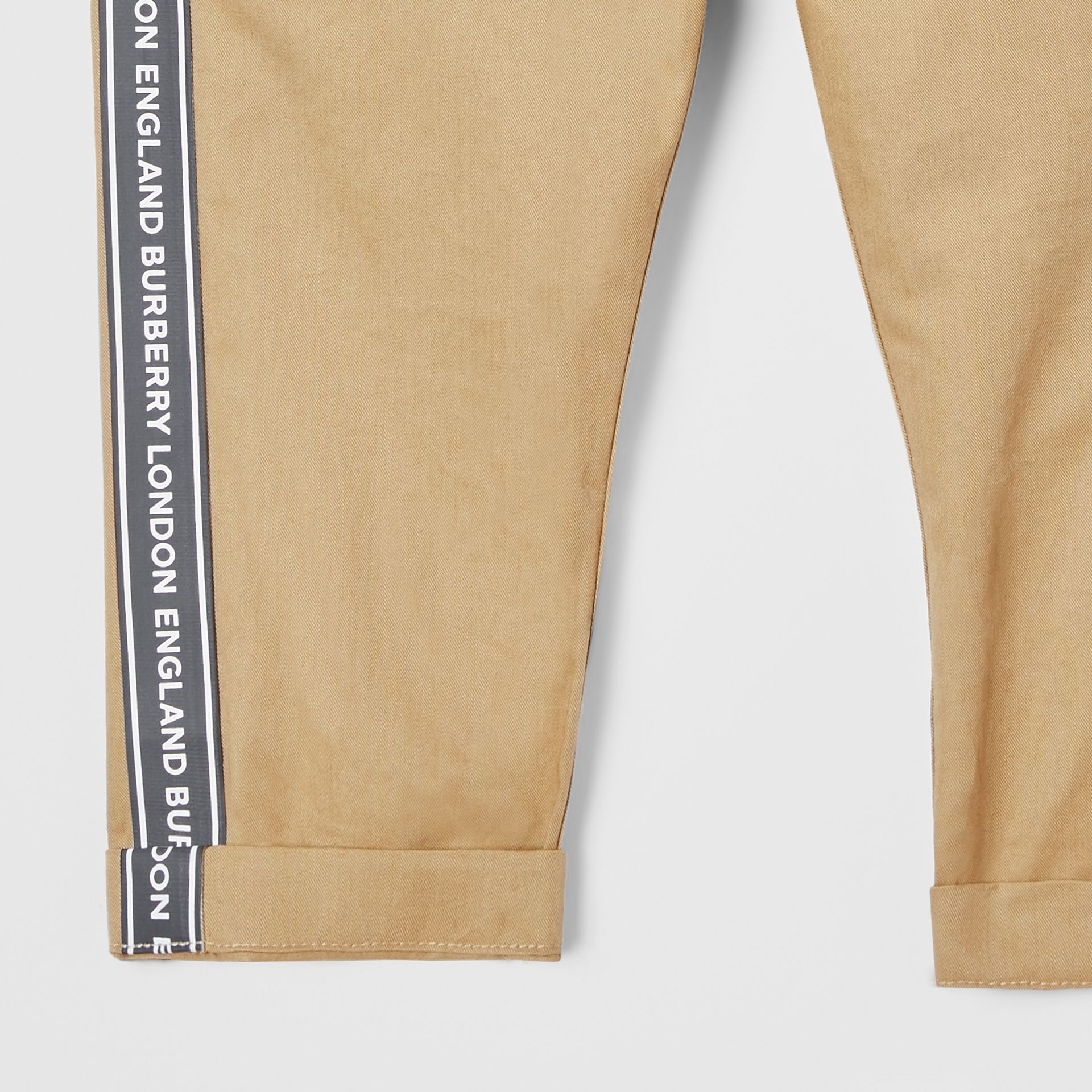 Logo Tape Cotton Chinos in Honey - Children | Burberry United Kingdom - gallery image 4