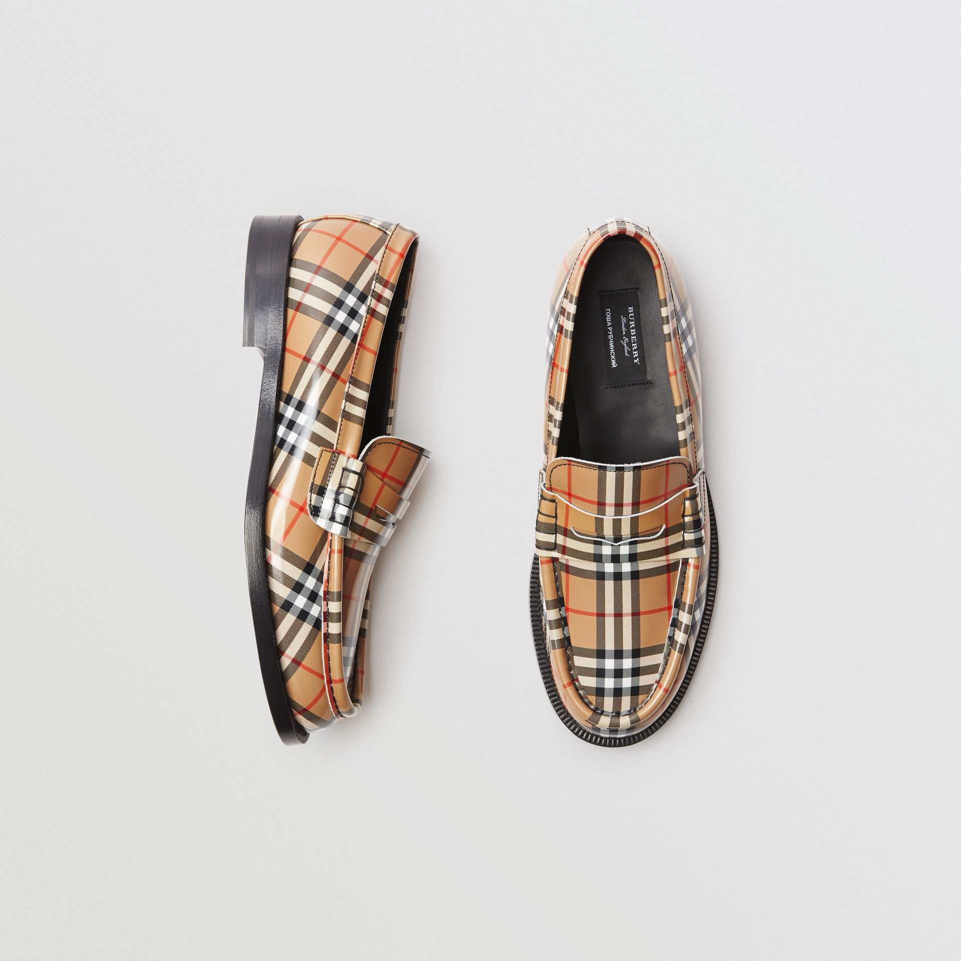 Gosha x Burberry Check Leather Loafers in Antique Yellow - Men | Burberry - gallery image 0