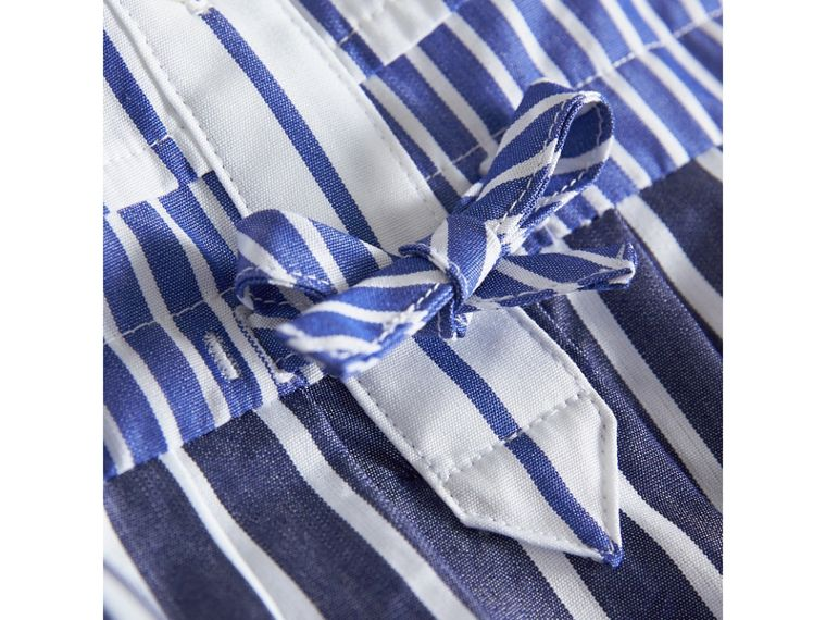 Contrast Stripe Cotton Dress in Indigo | Burberry - cell image 1