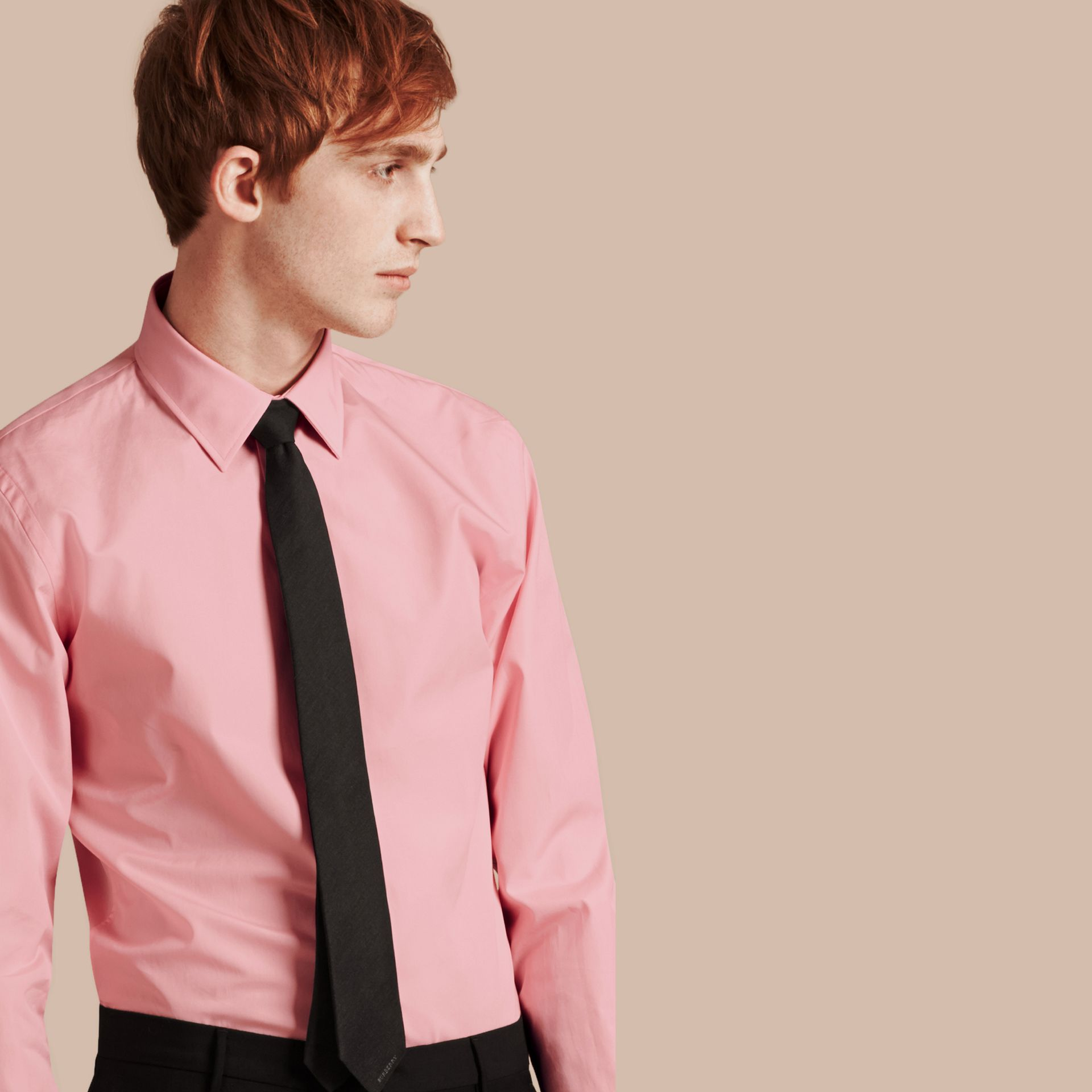 Slim Fit Cotton Poplin Shirt in City Pink - gallery image 5