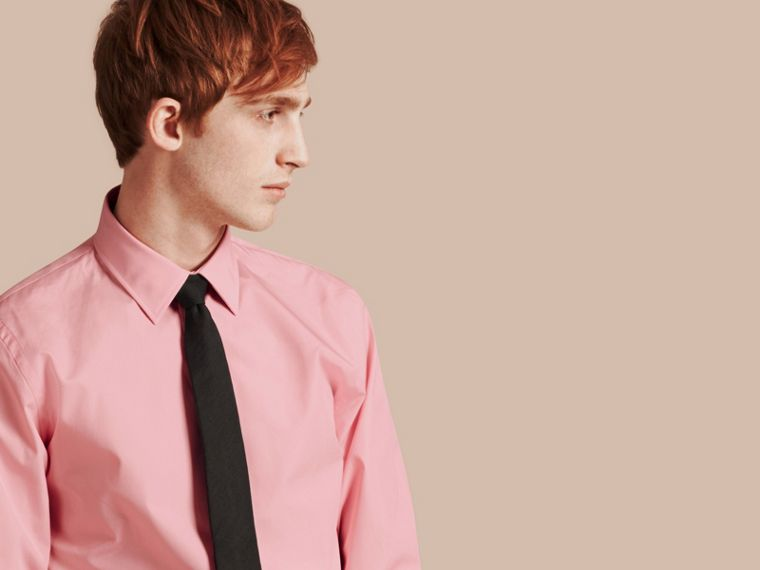 Slim Fit Cotton Poplin Shirt in City Pink - cell image 4