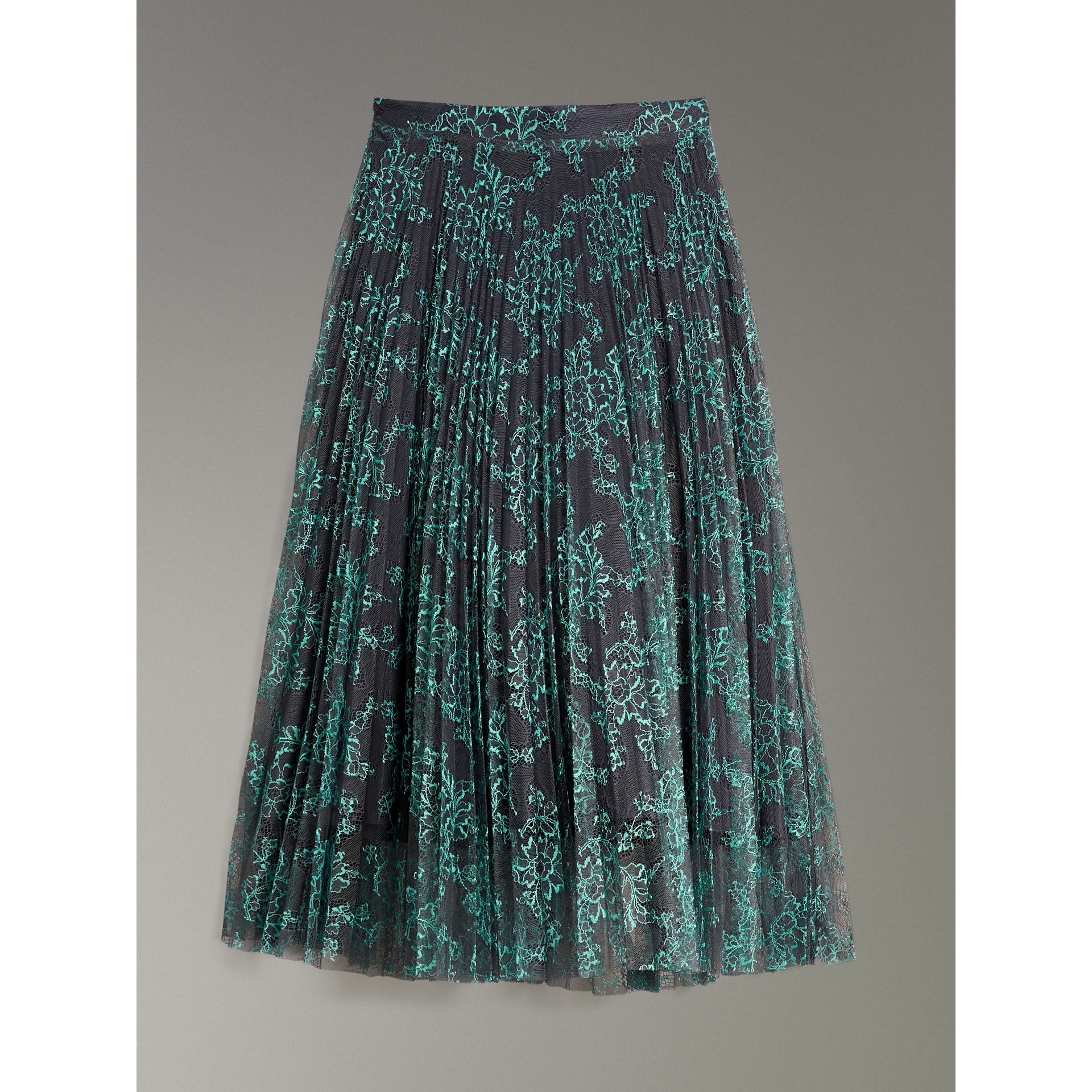 Pleated Lace Skirt in Bright Blue/taupe - Women | Burberry Singapore - gallery image 3