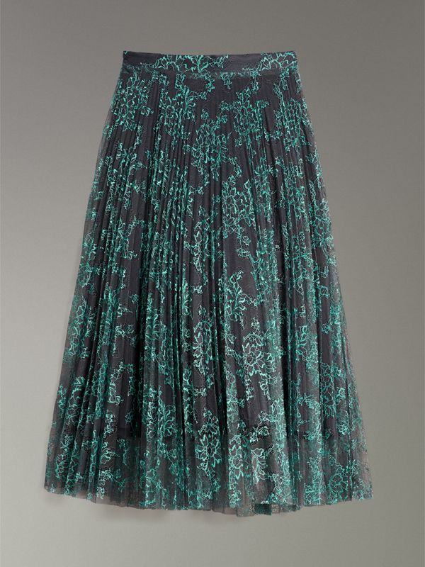Pleated Lace Skirt in Bright Blue/taupe - Women | Burberry United Kingdom - cell image 3