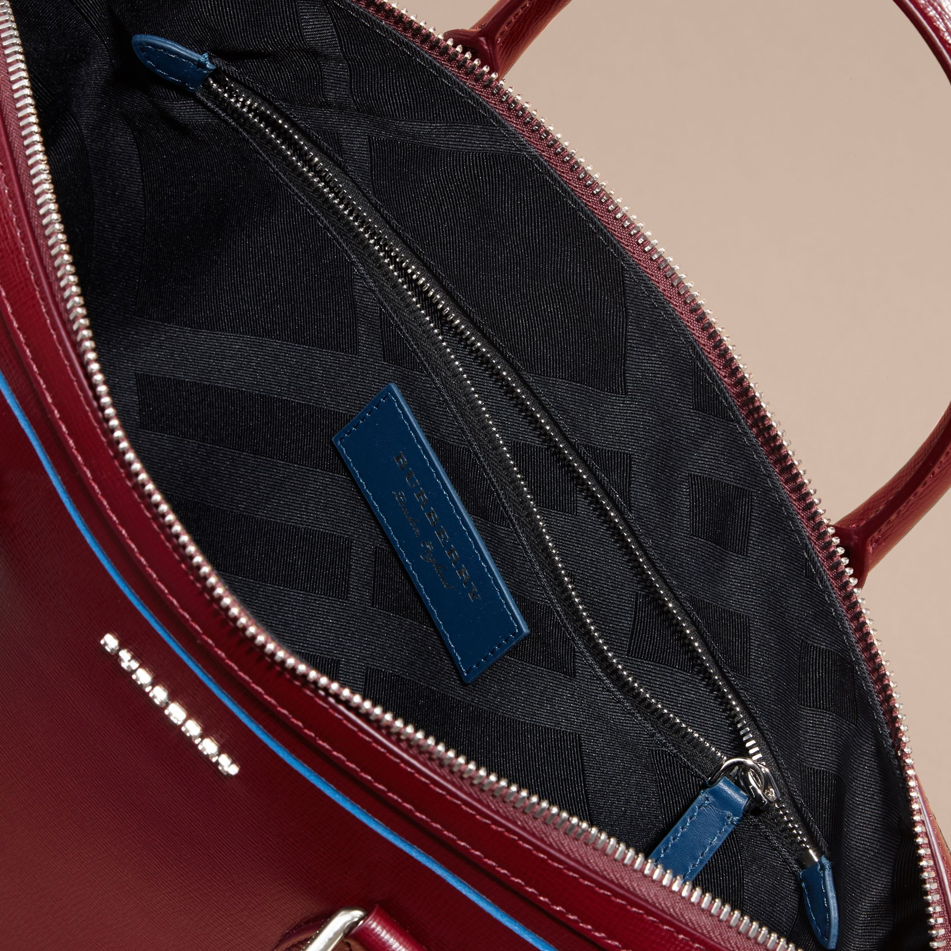 The Slim Barrow Bag in London Leather with Border Detail Burgundy Red - gallery image 6