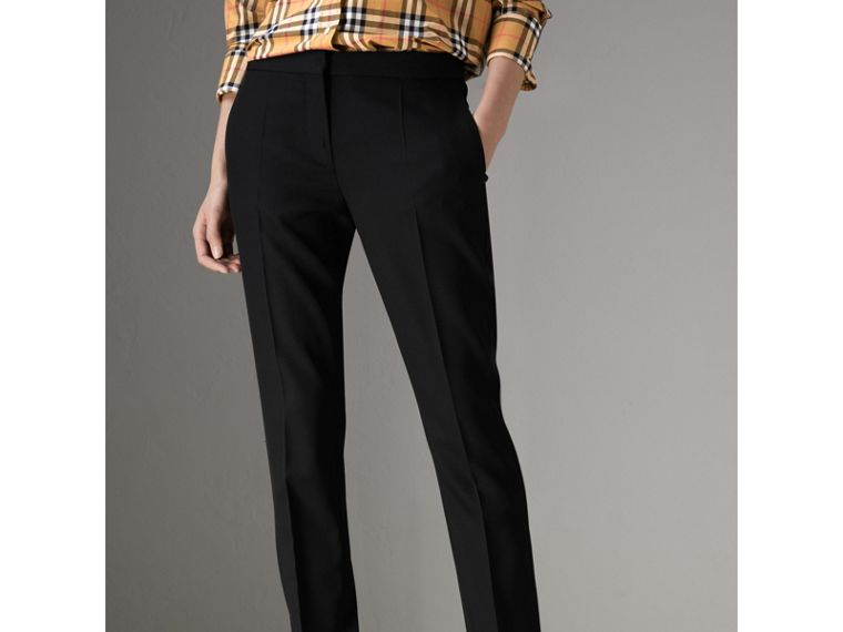 Straight Fit Wool Tailored Trousers in Black - Women | Burberry - cell image 4