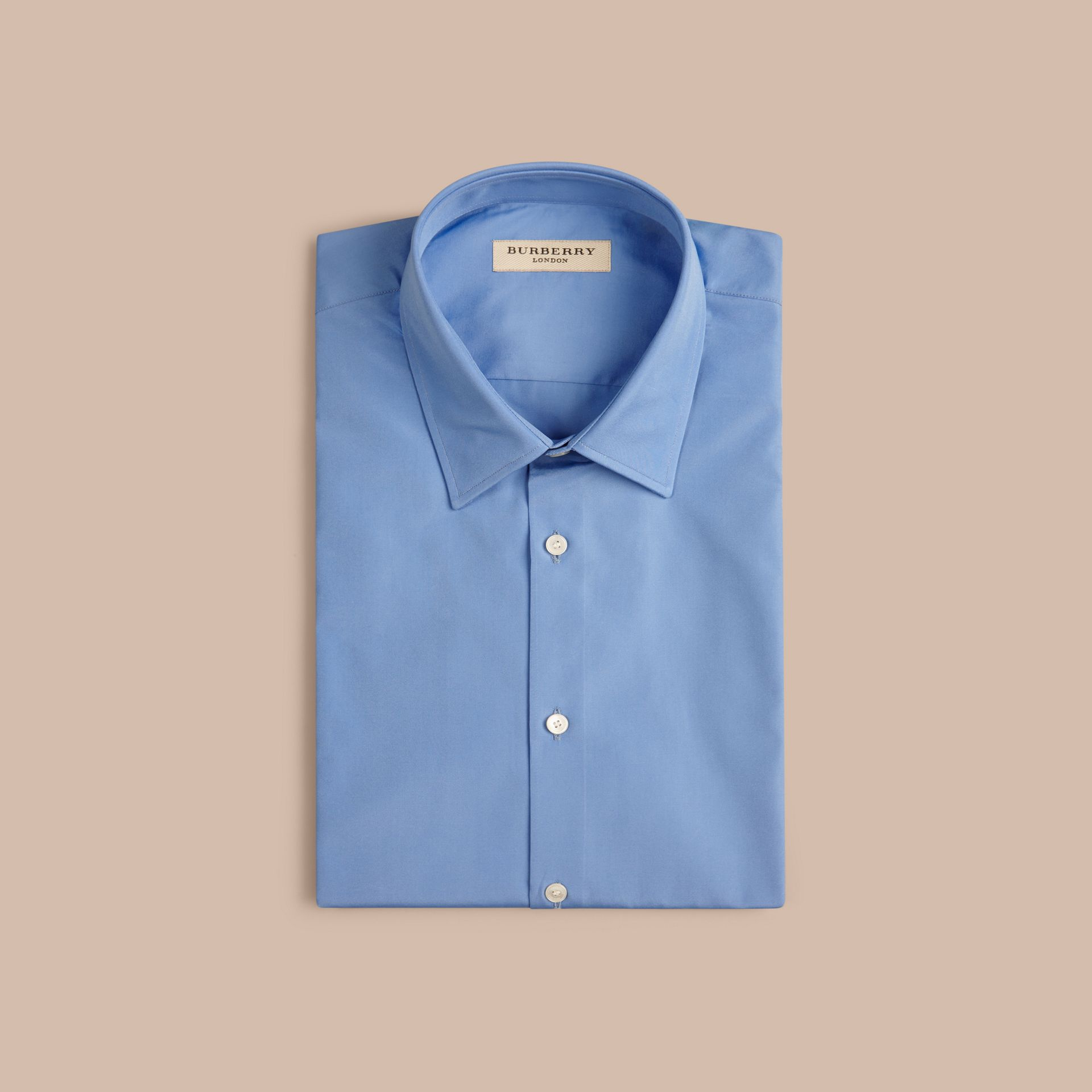 Mid blue Slim Fit Short-sleeved Cotton Poplin Shirt - gallery image 4