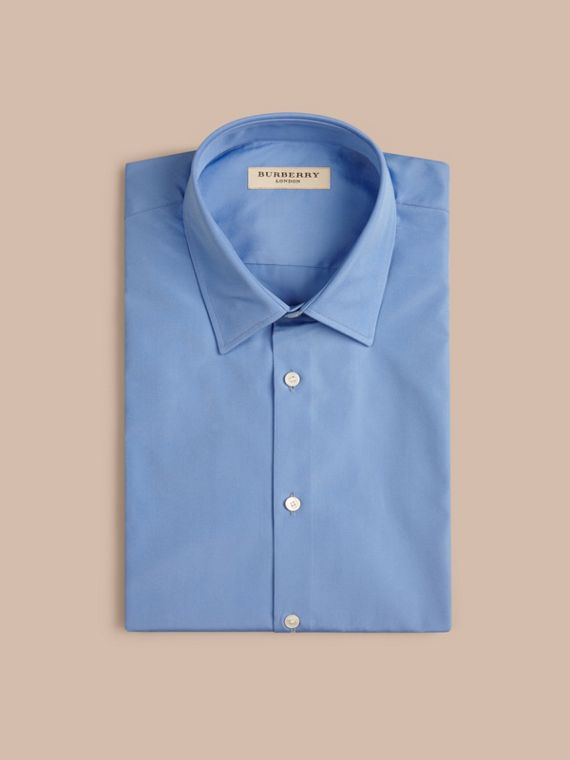 Mid blue Slim Fit Short-sleeved Cotton Poplin Shirt - cell image 3