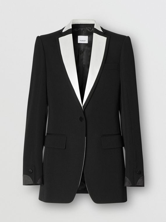 Silk Panel Wool Tailored Jacket in Black