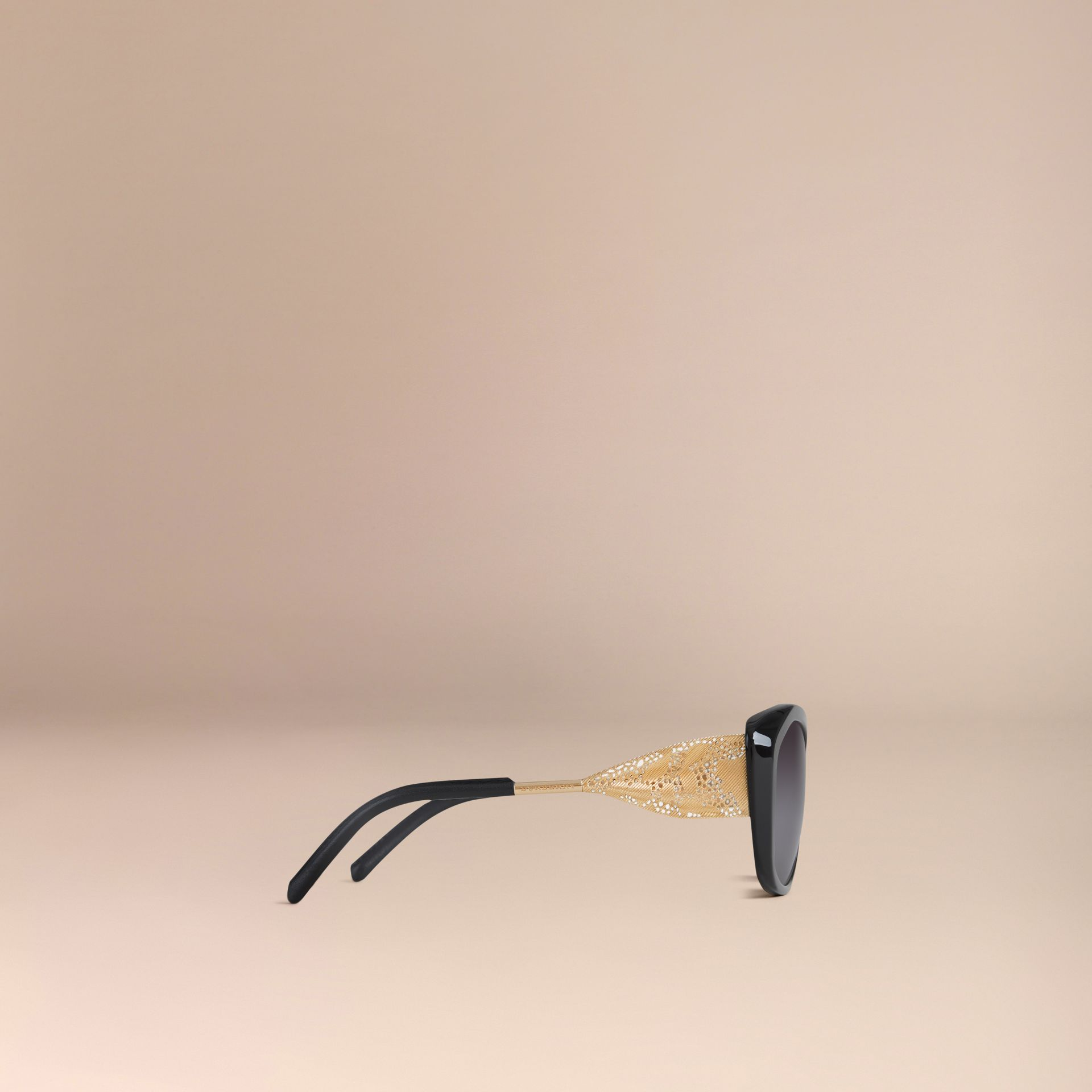 Gabardine Collection Square Frame Sunglasses Black - gallery image 4