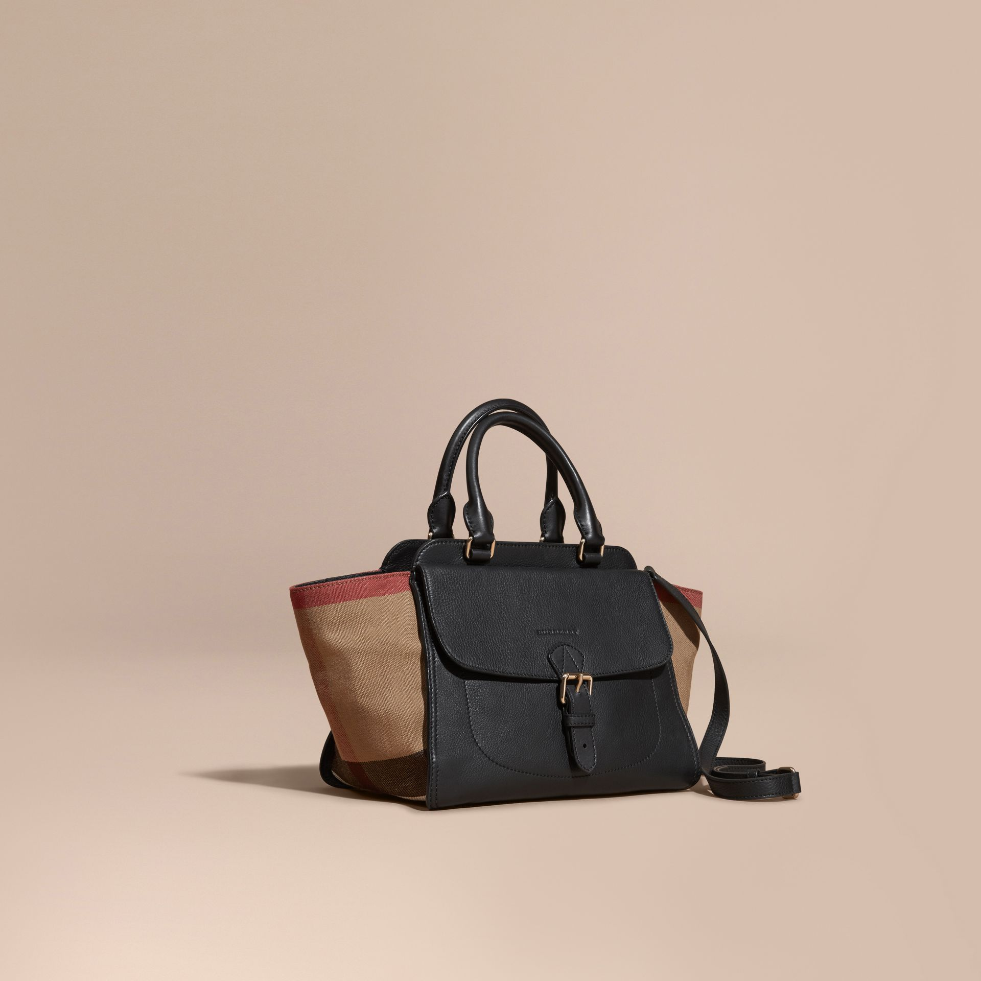 Black Medium Canvas Check and Leather Tote Bag Black - gallery image 1