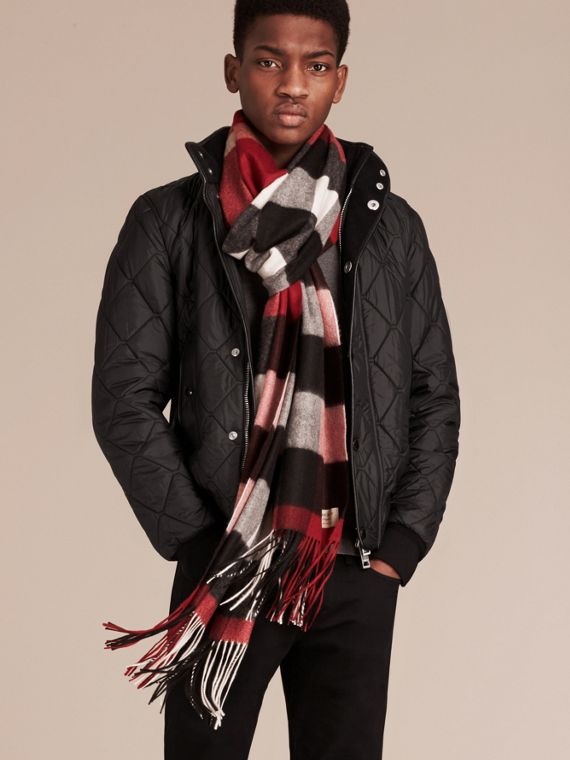 Oversize Check Cashmere Scarf in Parade Red - cell image 3