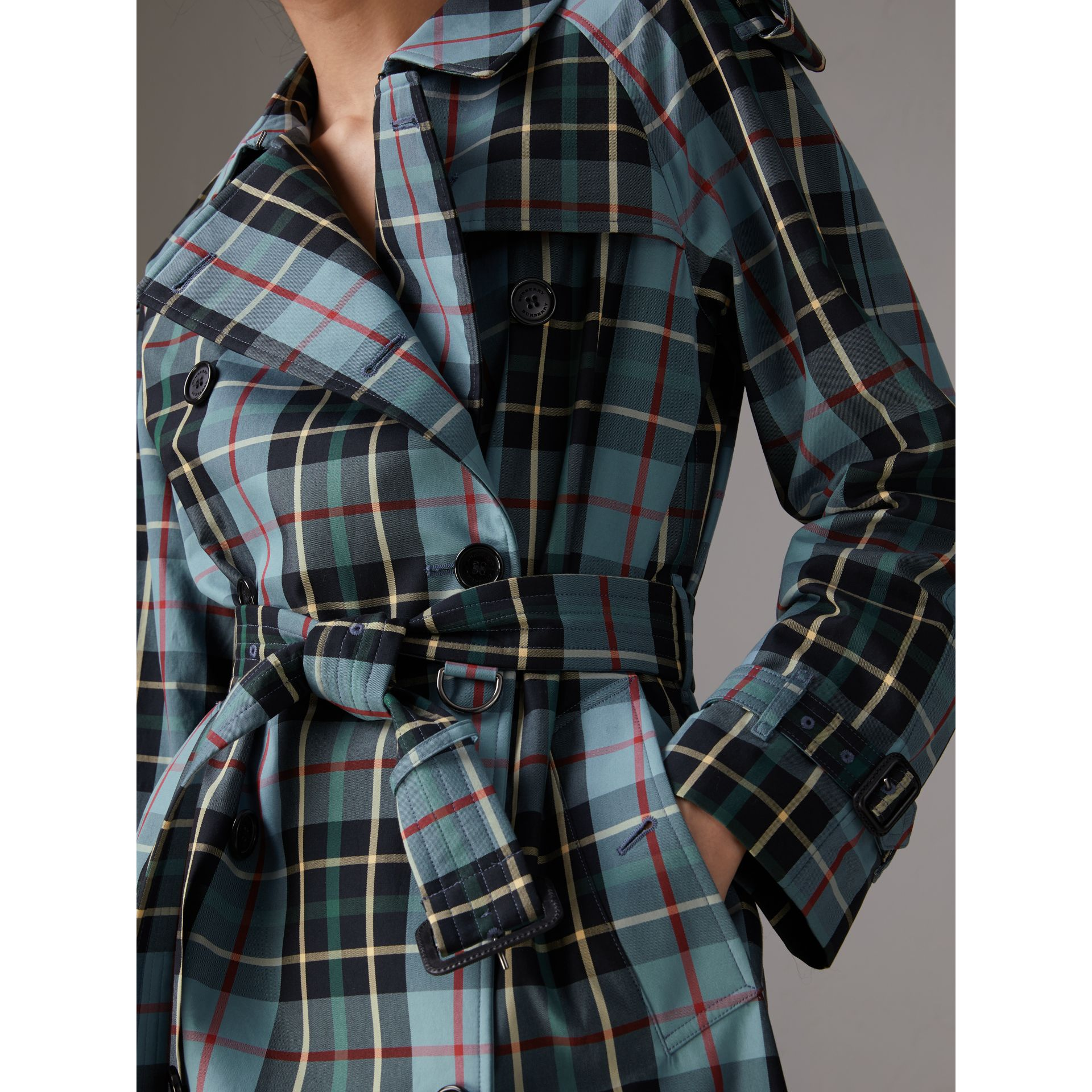 Tartan Cotton Gabardine Trench Coat in Cyan Blue - Women | Burberry - gallery image 1