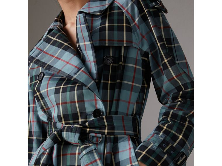 Tartan Cotton Gabardine Trench Coat in Cyan Blue - Women | Burberry - cell image 1