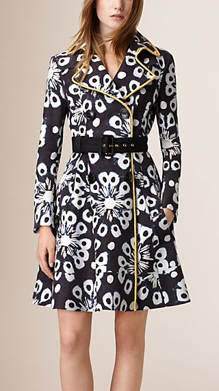 Printed Nubuck Trench Coat